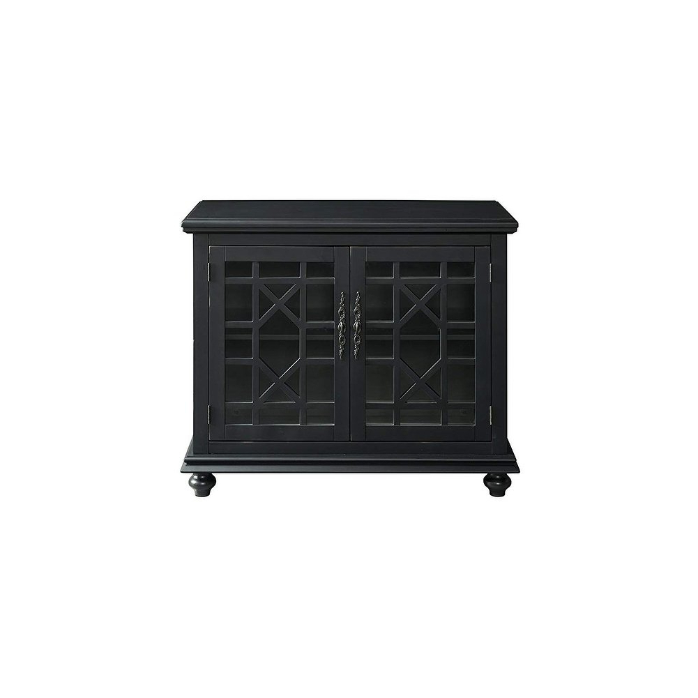 Shop Wooden Tv Stand With Trellis Detailed Doors, Antique Black In Maddy 60 Inch Tv Stands (View 14 of 20)