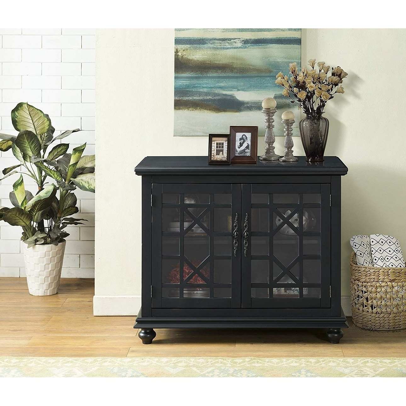 Shop Wooden Tv Stand With Trellis Detailed Doors, Antique Black Within Maddy 60 Inch Tv Stands (View 18 of 20)