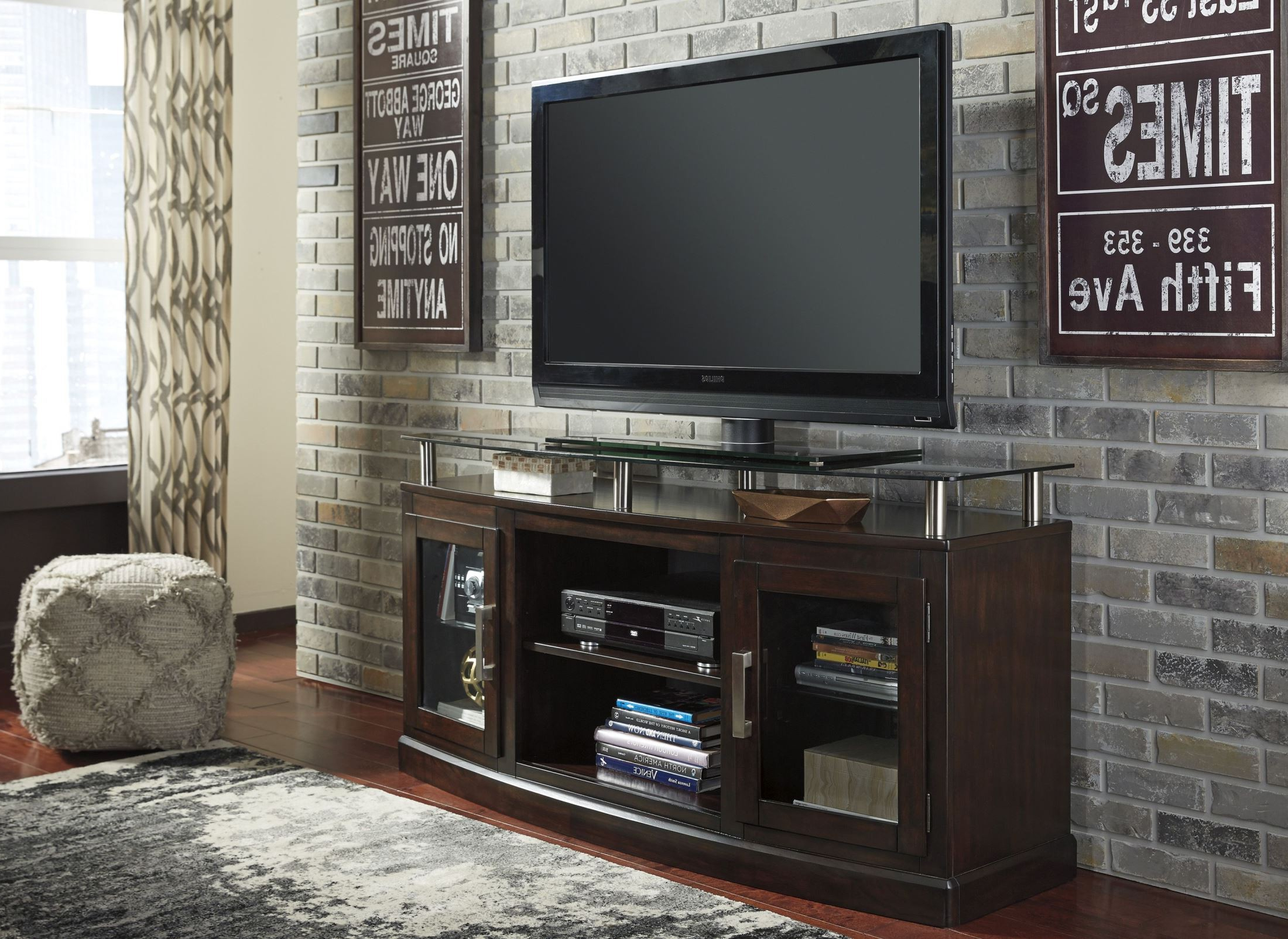 Signature Designashley Chanceen Dark Brown Medium Tv Stand Inside Abbot 60 Inch Tv Stands (Gallery 12 of 20)