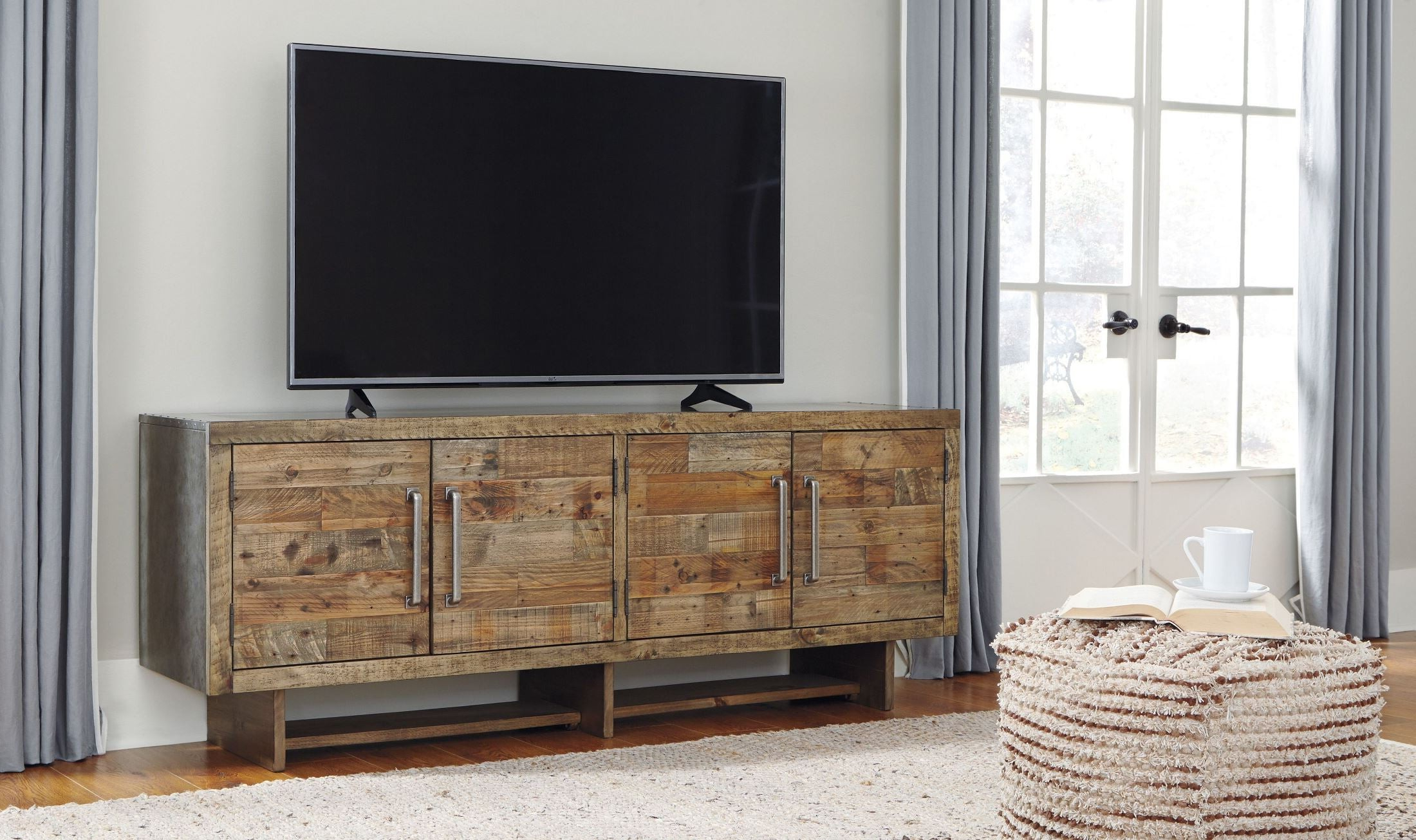 Signature Designashley Mozanburg Brown Extra Large Tv Stand Intended For Vista 68 Inch Tv Stands (View 10 of 20)