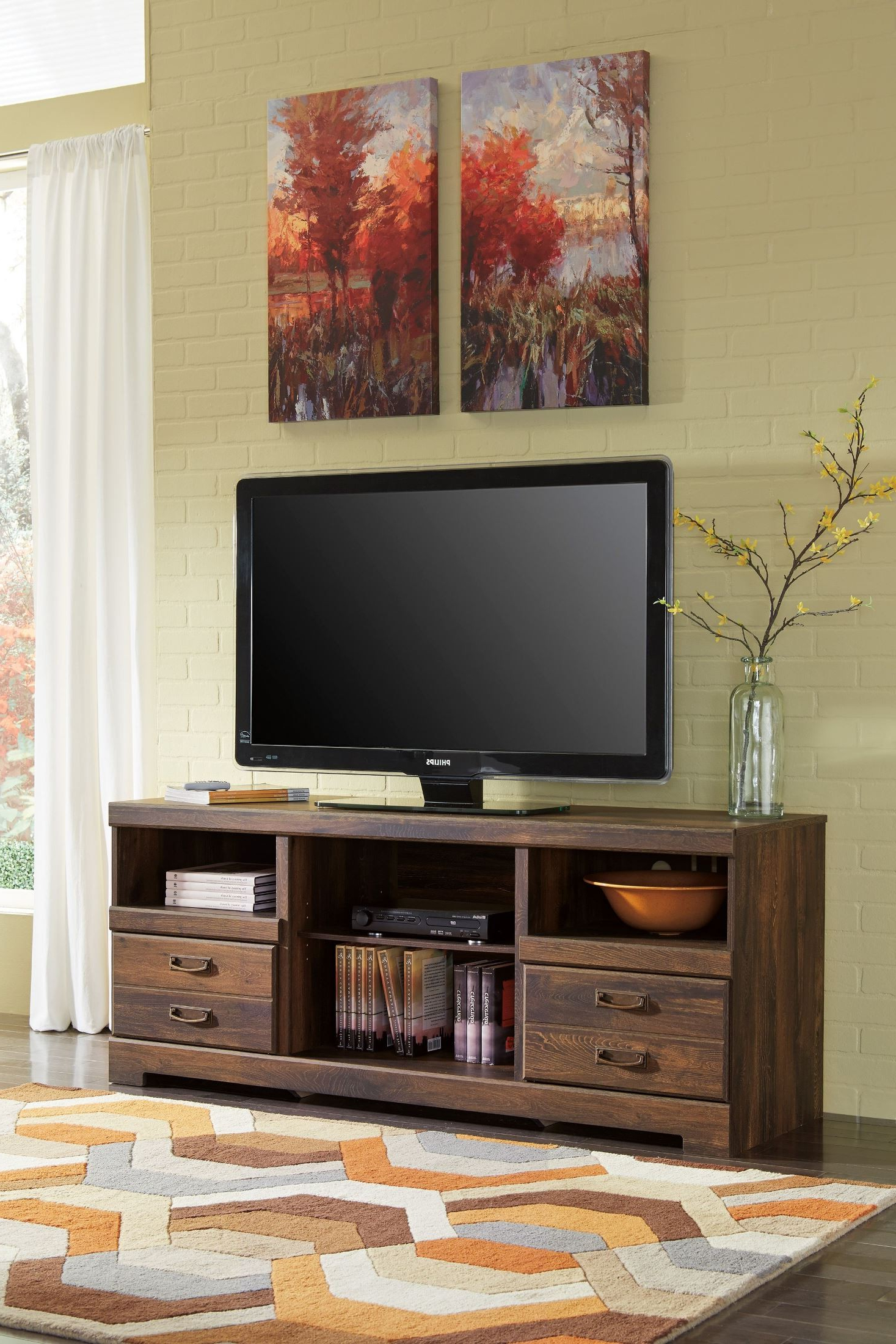 Signature Designashley Quinden Lg Tv Stand With Glass/stone Pertaining To Vista 68 Inch Tv Stands (View 14 of 20)