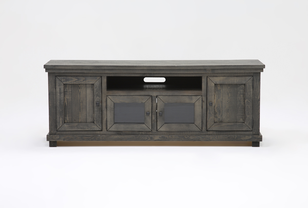 Sinclair Grey 74 Inch Tv Stand | Living Spaces In Sinclair White 74 Inch Tv Stands (View 11 of 20)