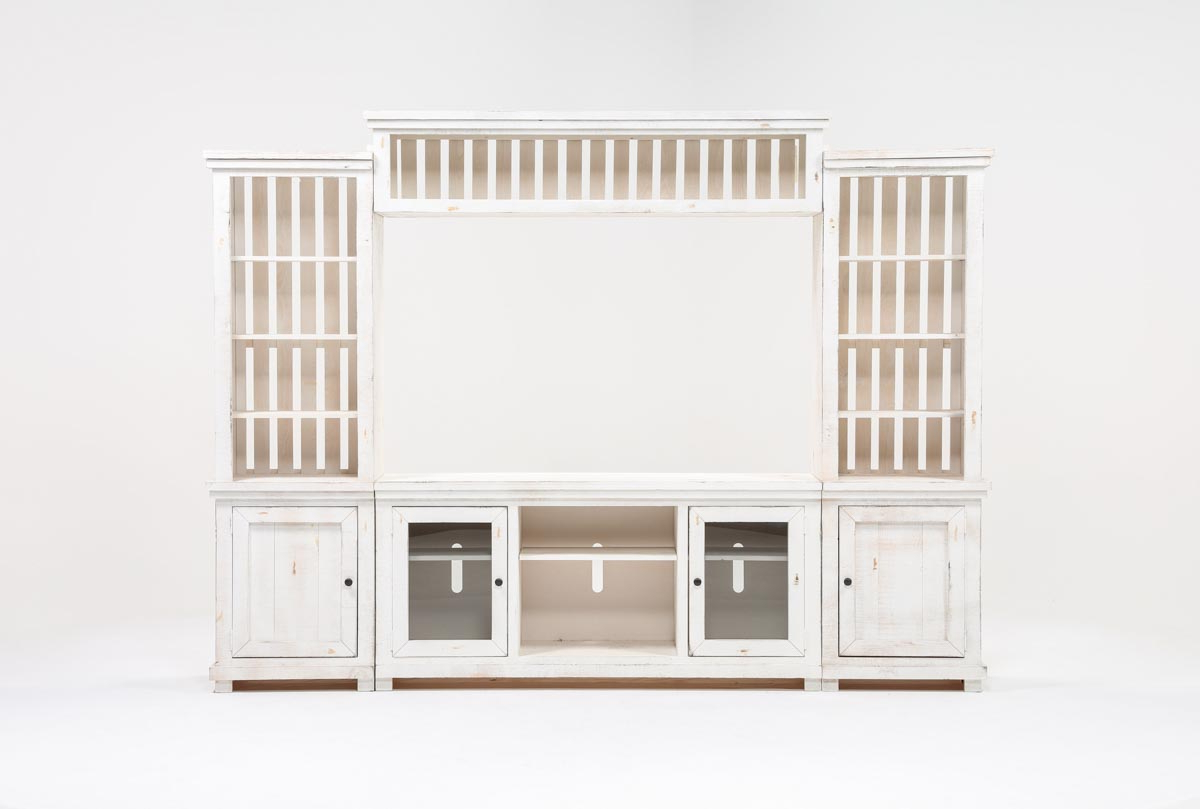 Sinclair White 4 Piece Entertainment Center | Living Spaces Intended For Sinclair White 68 Inch Tv Stands (View 16 of 20)