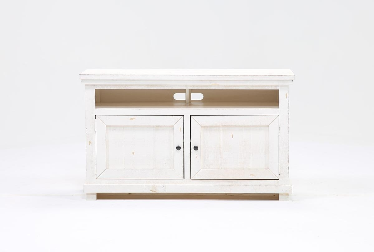 Sinclair White 54 Inch Tv Stand | Living Spaces Throughout Sinclair Grey 54 Inch Tv Stands (View 19 of 20)