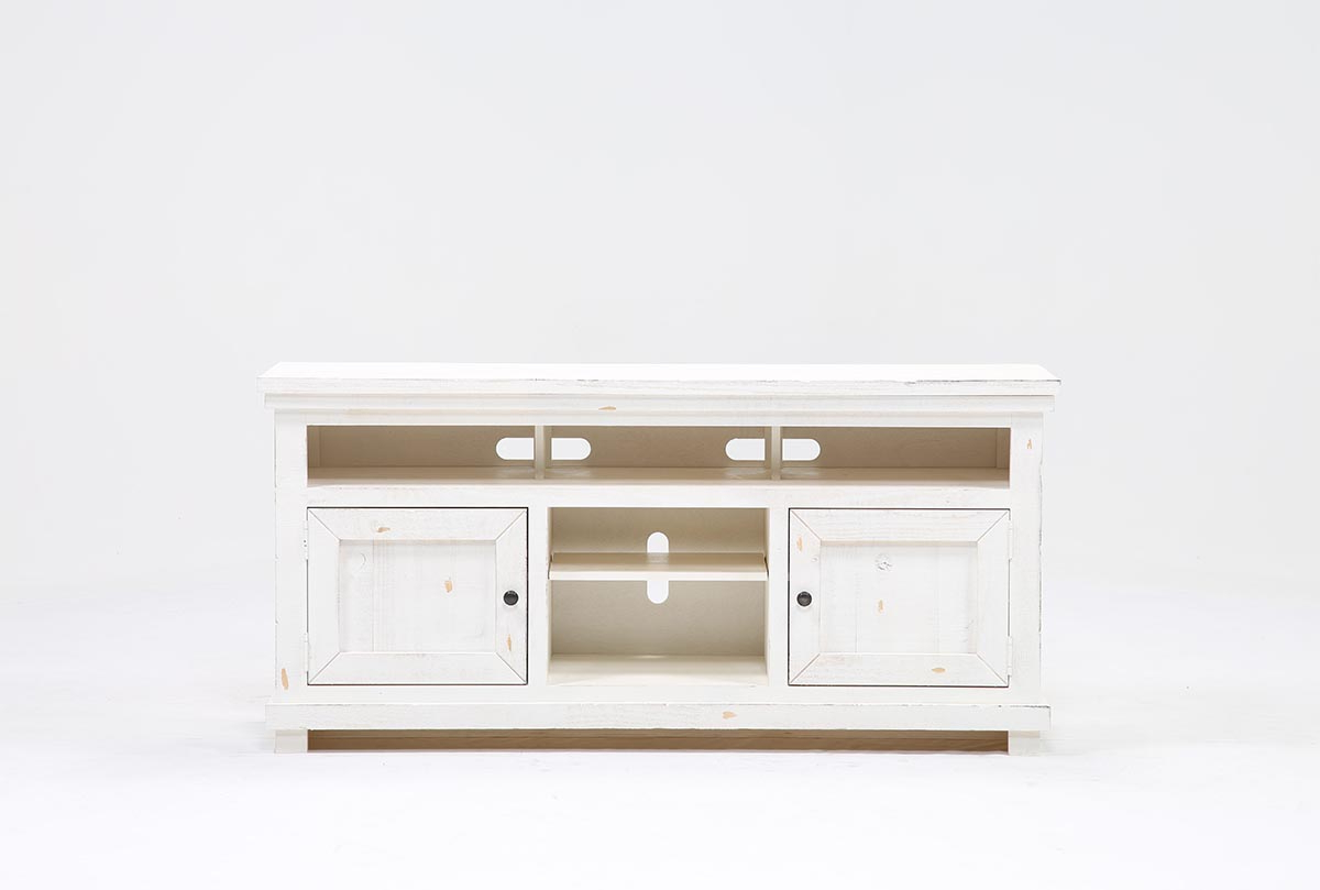 Sinclair White 64 Inch Tv Stand | Living Spaces Pertaining To Sinclair Grey 64 Inch Tv Stands (View 2 of 20)