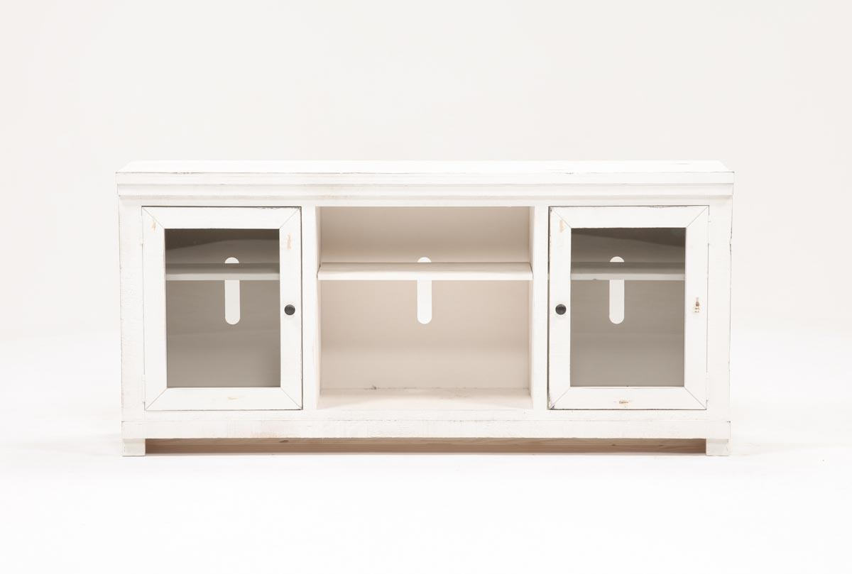 Sinclair White 68 Inch Tv Stand | Living Spaces Within Sinclair Grey 68 Inch Tv Stands (View 19 of 20)