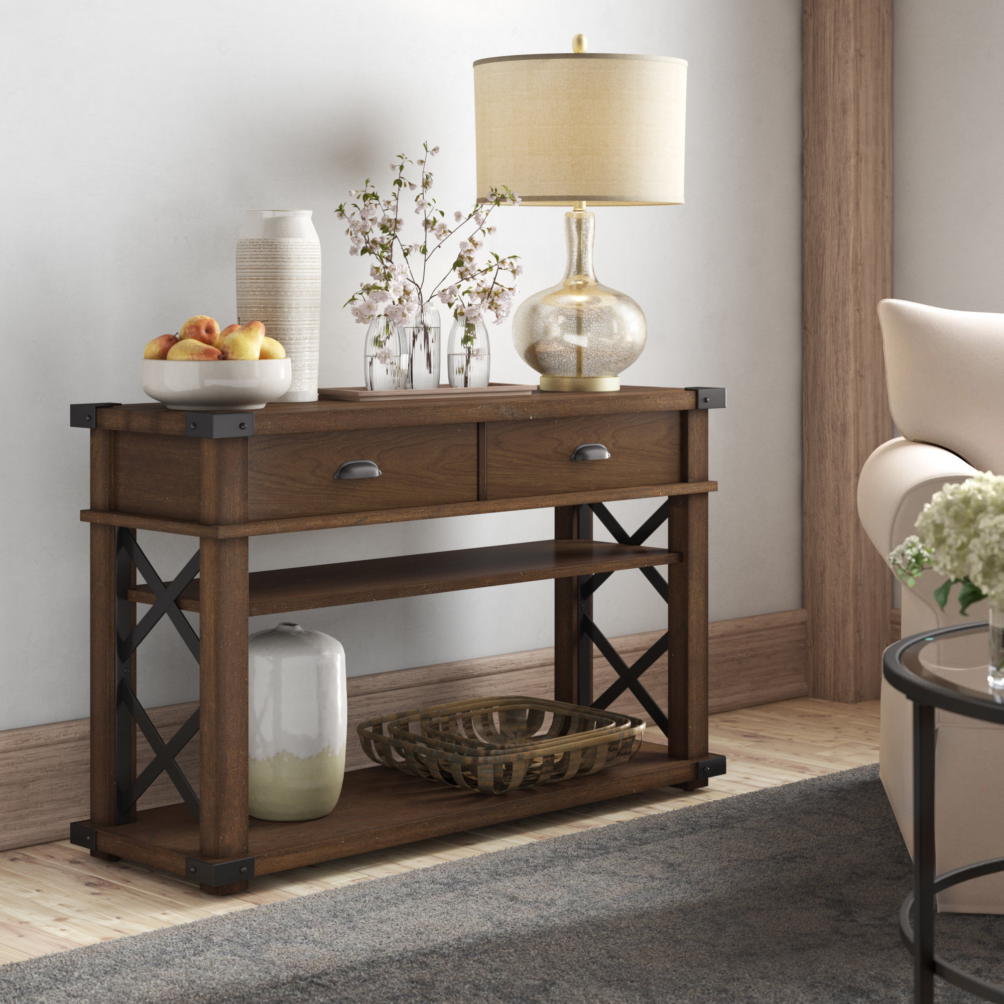 Small Corner Console Table | Wayfair Inside Layered Wood Small Square Console Tables (View 13 of 20)