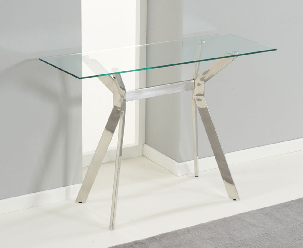 Small Glass Console Table : Console Table – Glass Console Table Throughout Elke Glass Console Tables With Brass Base (View 15 of 20)