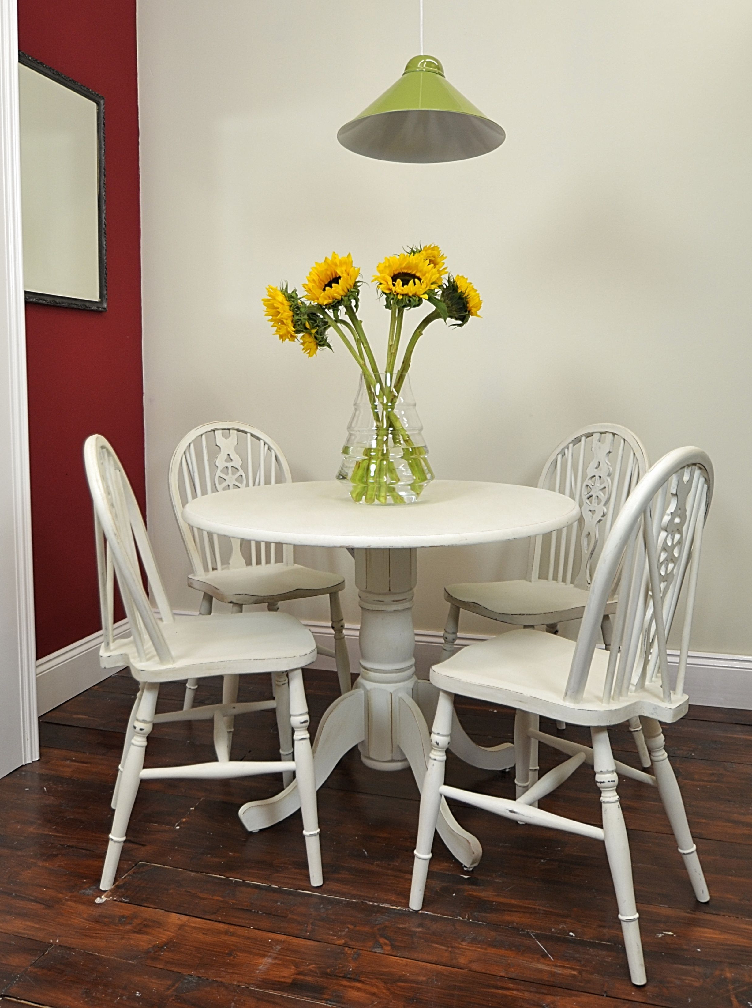 Small Round Table & Chair Set Painted In Old White | My Favorites For Chari Media Center Tables (View 15 of 20)