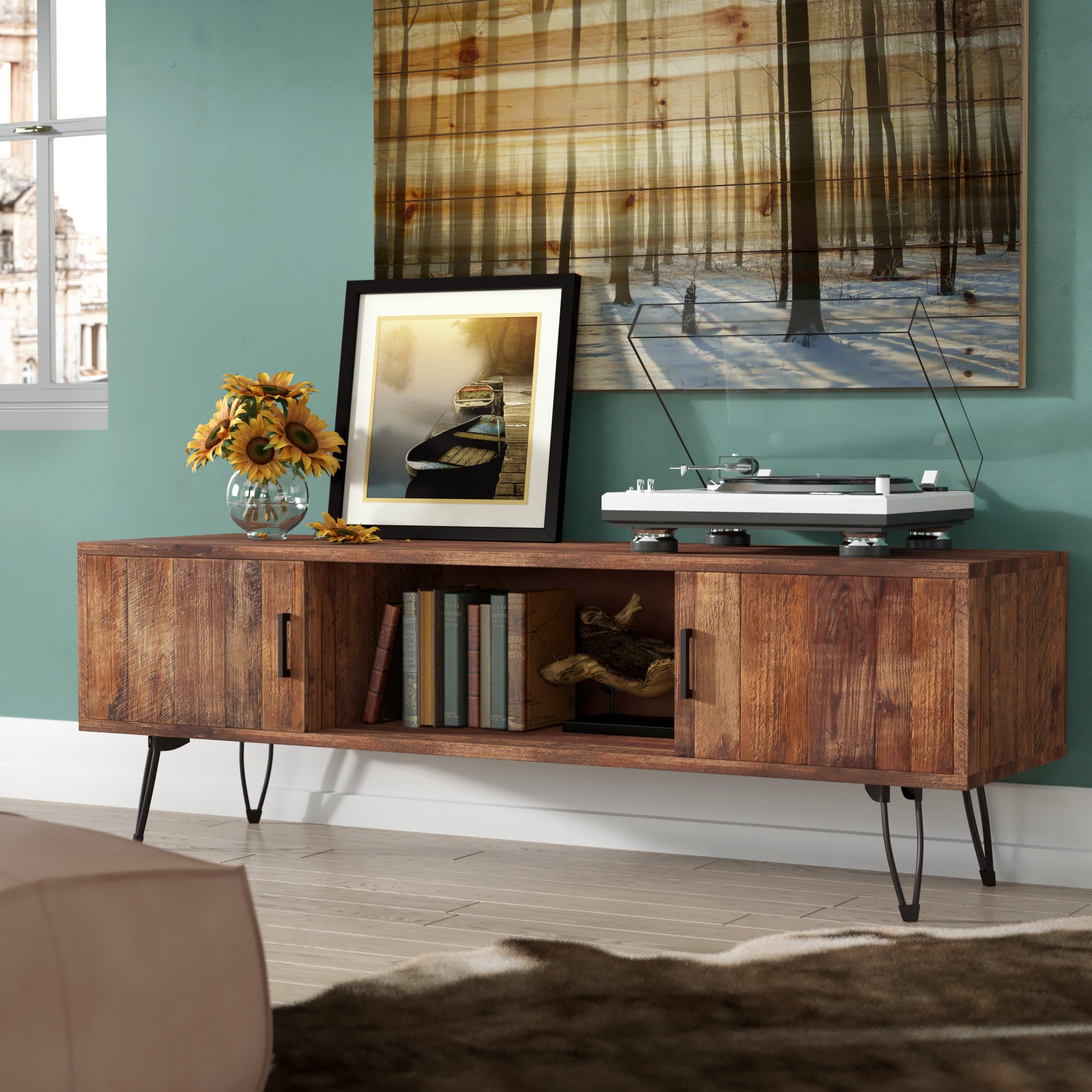 Solid Wood Tv Stands & Entertainment Centers You'll Love | Wayfair Throughout Natural Wood Mirrored Media Console Tables (View 10 of 20)