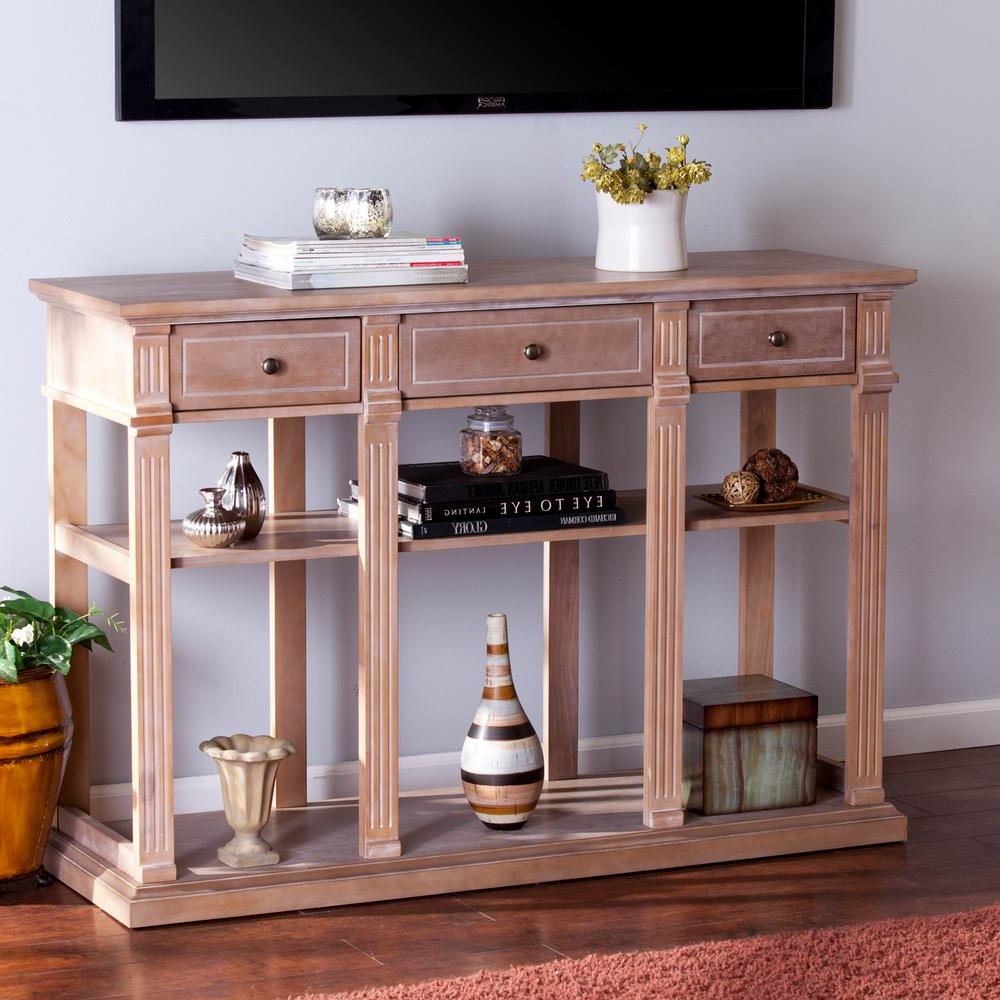 Southern Enterprises Crispin Weathered Natural Entertainment Center Throughout Natural Wood Mirrored Media Console Tables (View 17 of 20)