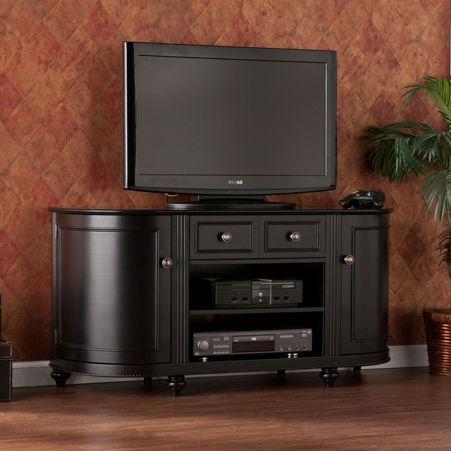 Southern Enterprises Dandridge Black Tv Stand Ms8341 | Bellacor For Rowan 45 Inch Tv Stands (View 14 of 20)