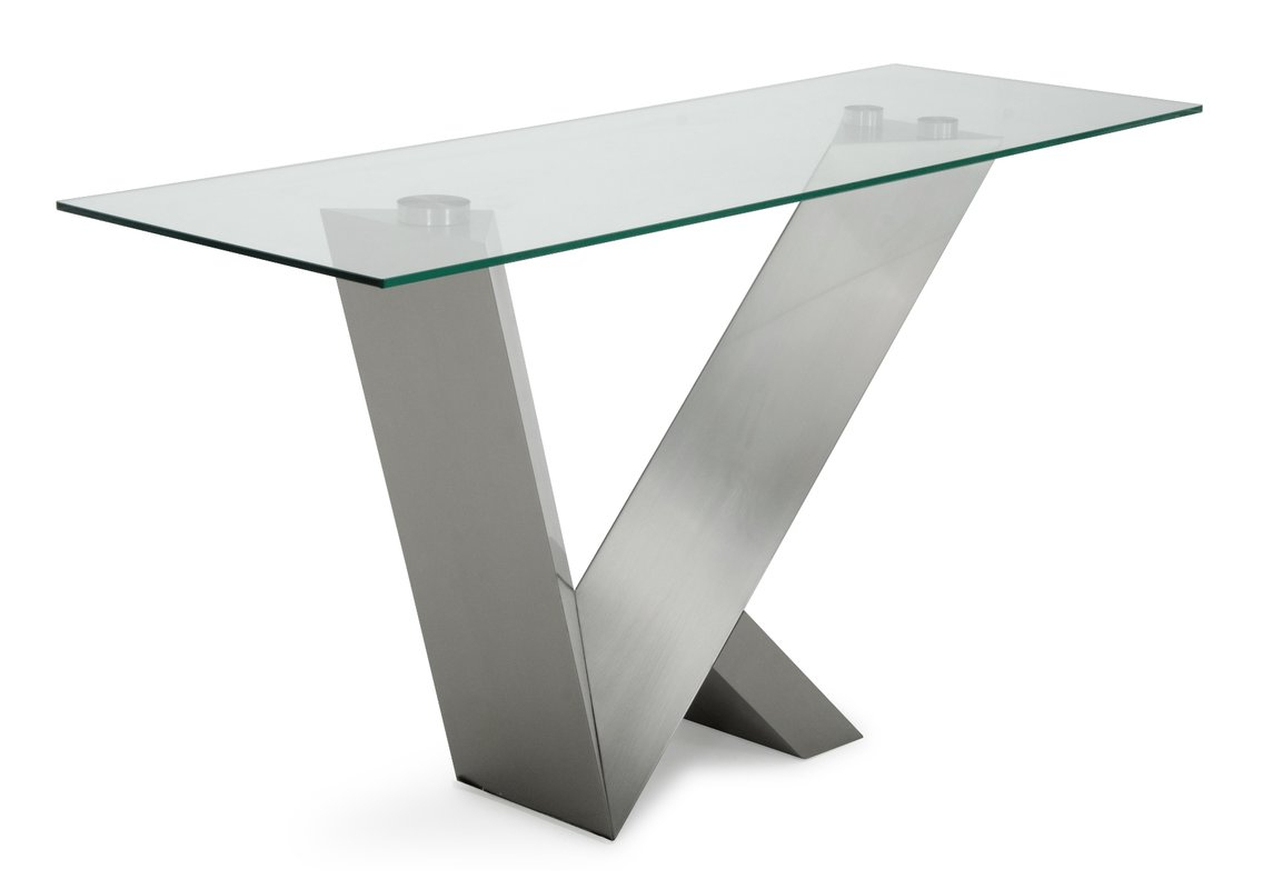 Stainless Steel And Glass Console Table | O2 Pilates Inside Parsons Grey Solid Surface Top & Stainless Steel Base 48X16 Console Tables (View 13 of 20)