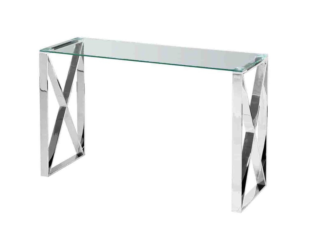Stainless Steel And Glass Console Table | O2 Pilates Throughout Parsons Grey Solid Surface Top & Stainless Steel Base 48X16 Console Tables (Gallery 17 of 20)