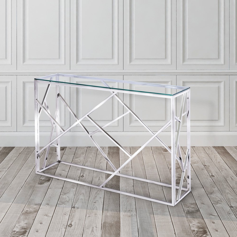 Stainless Steel And Glass Console Table | O2 Pilates With Regard To Parsons Grey Solid Surface Top & Stainless Steel Base 48X16 Console Tables (View 15 of 20)