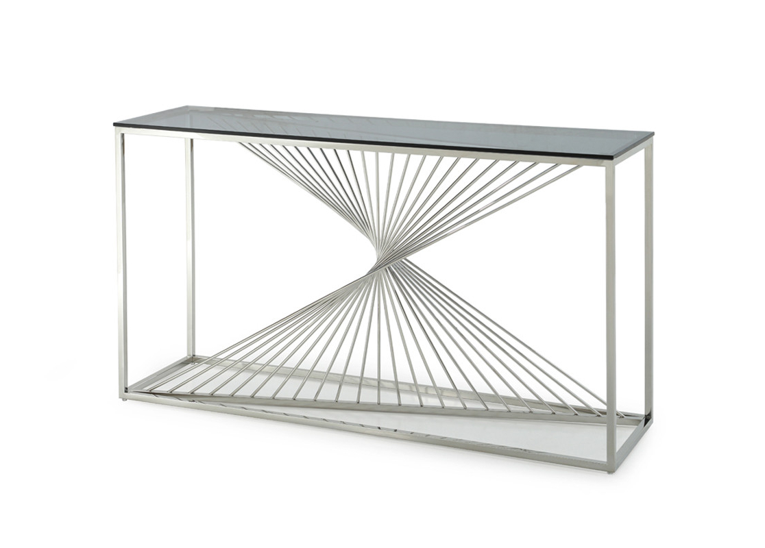 Stainless Steel Sofa Table – Home And Textiles Inside Parsons Clear Glass Top & Stainless Steel Base 48X16 Console Tables (View 18 of 20)