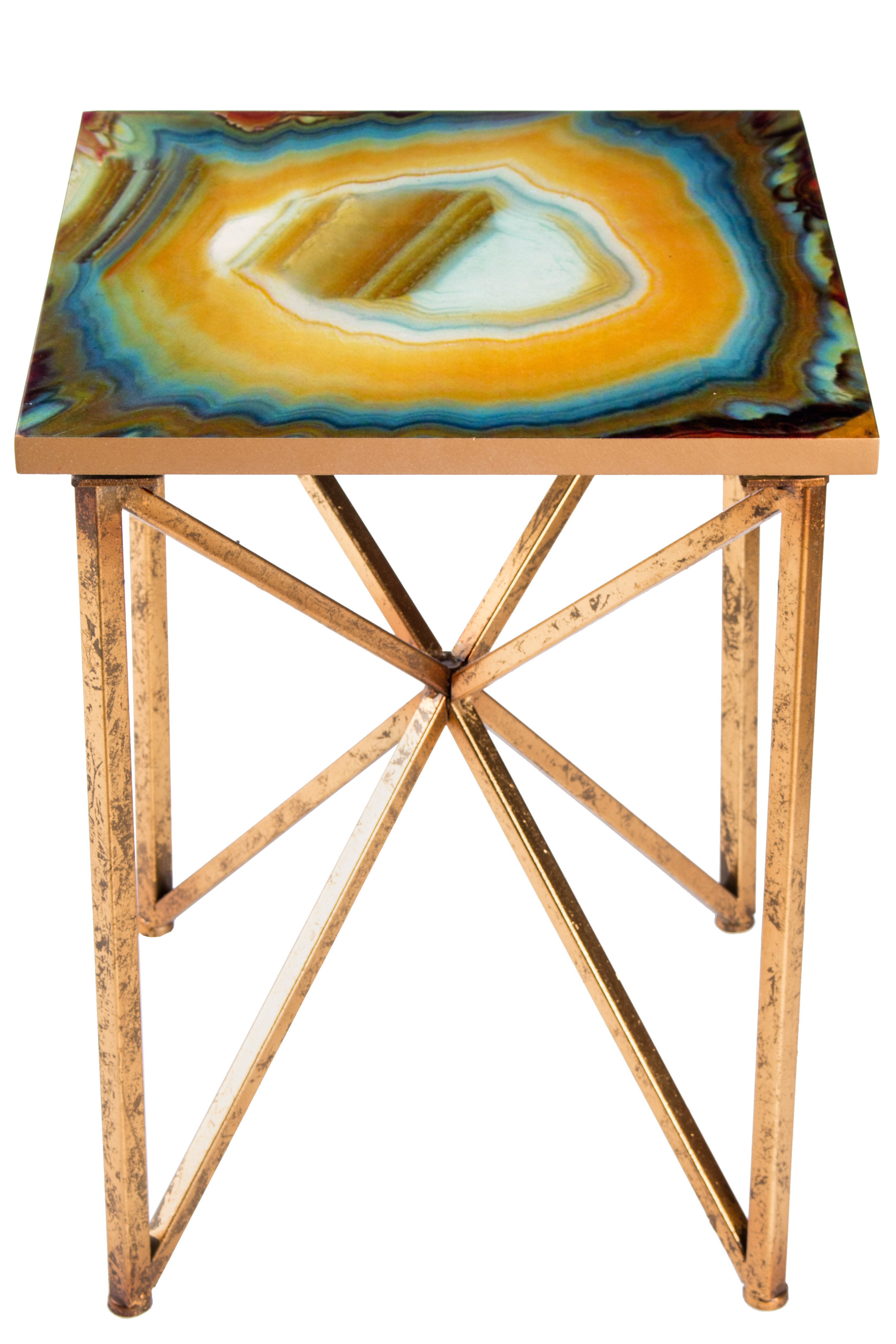 Statementsj Or Agate End Table | Wayfair With Mix Agate Metal Frame Console Tables (View 18 of 20)