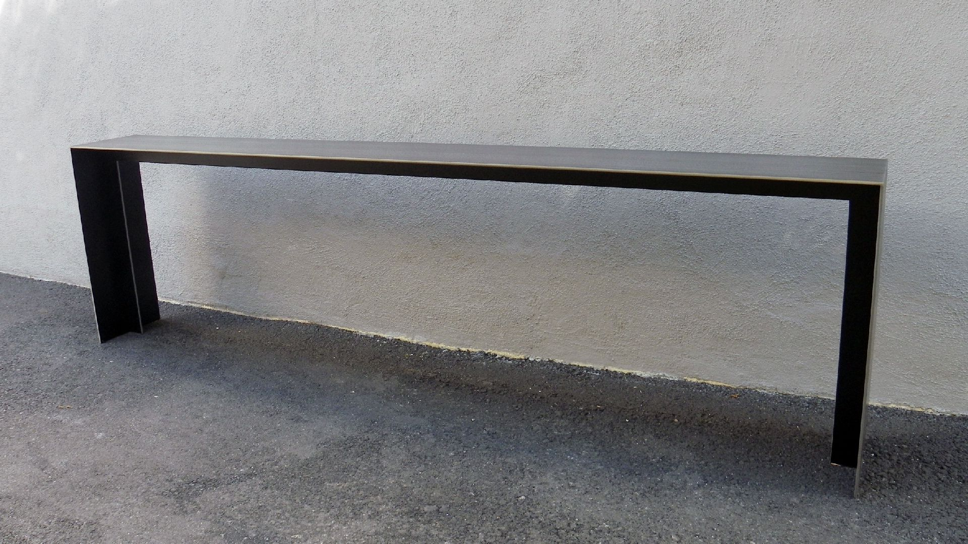 Steel Plate Console With Herringbone Patina | Rl3 | Pinterest Pertaining To Parsons White Marble Top & Dark Steel Base 48X16 Console Tables (View 19 of 20)