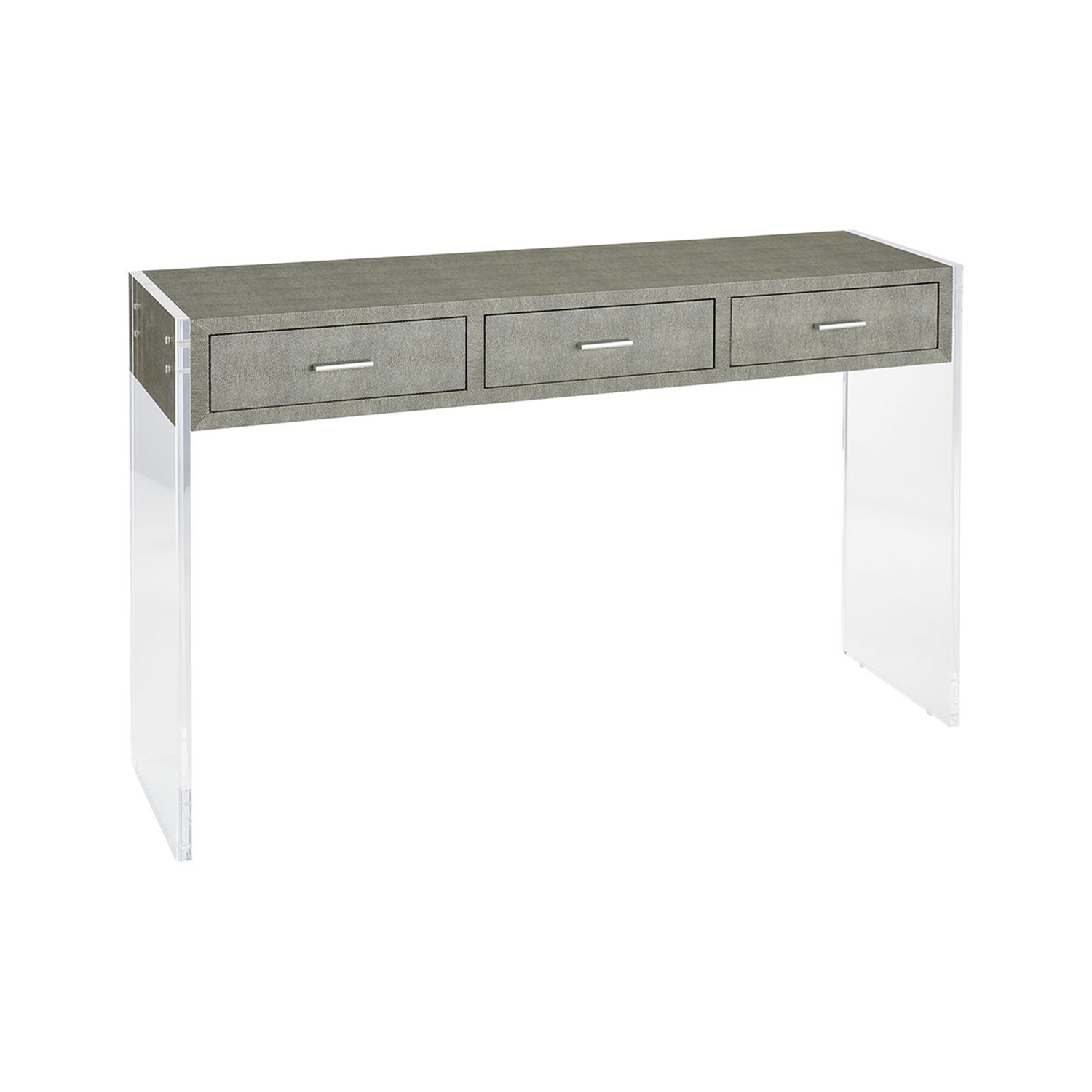 Sterling Industries Monaco Grey Faux Shagreen And Clear Acrylic 48 Throughout Grey Shagreen Media Console Tables (View 20 of 20)