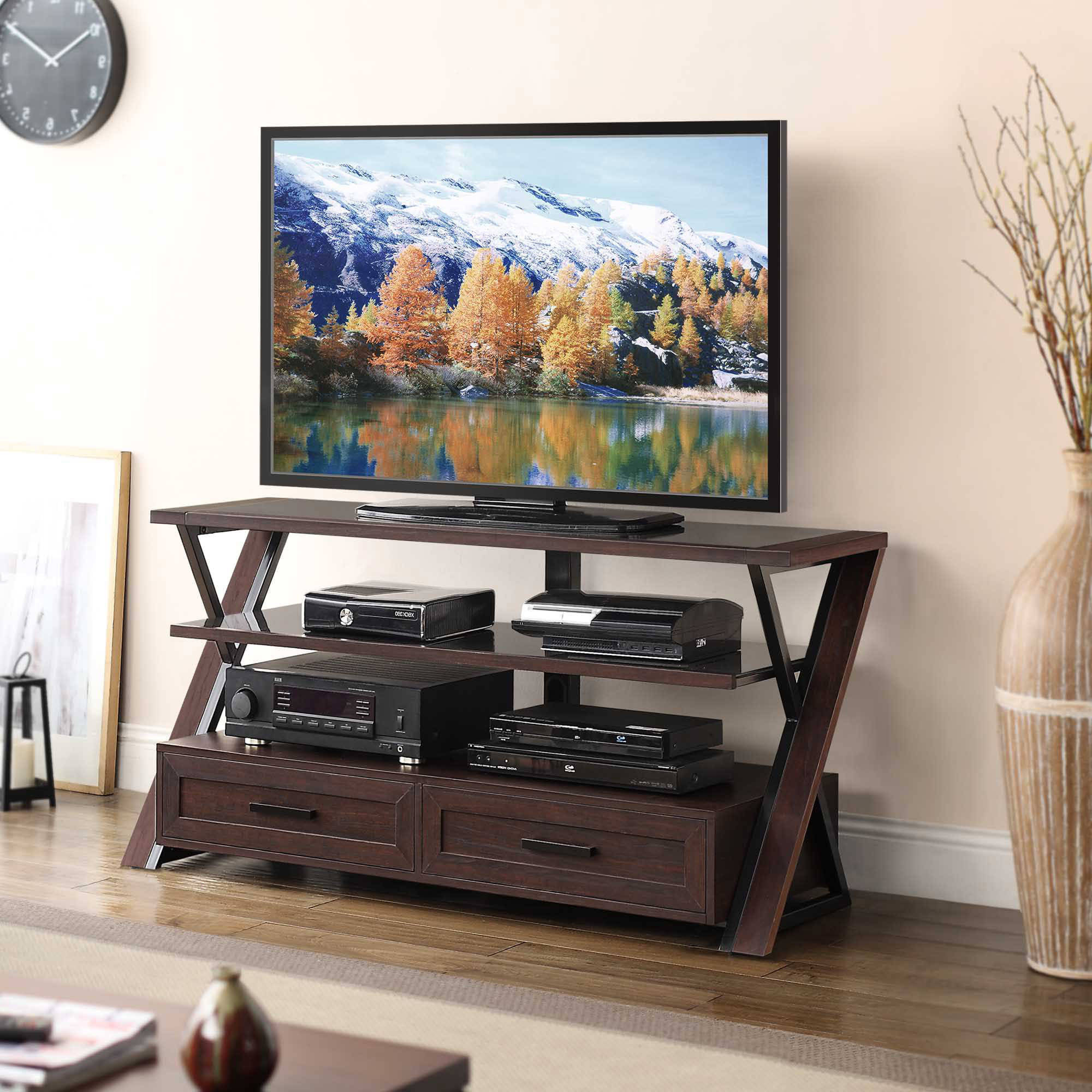 "Stinson Brown Flat Panel Tv Console For Tvs Up To 60"" – Walmart With Jaxon 71 Inch Tv Stands (View 13 of 20)"