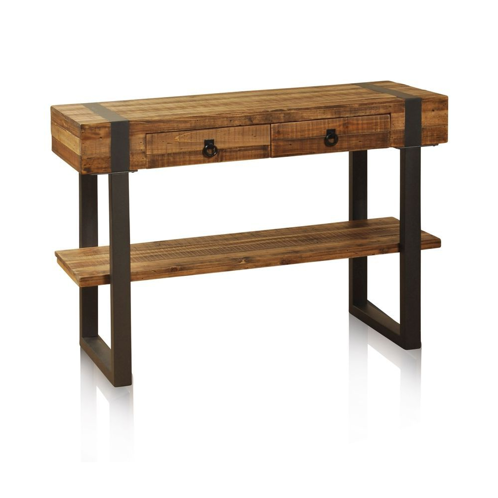Stylecraft Light Tobacco 2 Drawer Console Table – Forged Metal Legs Inside Yukon Natural Console Tables (View 18 of 20)
