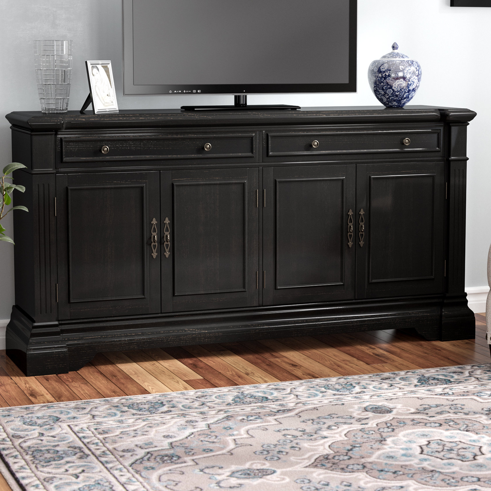 Tall Tv Stands You'll Love | Wayfair Throughout Edwin Black 64 Inch Tv Stands (View 14 of 20)