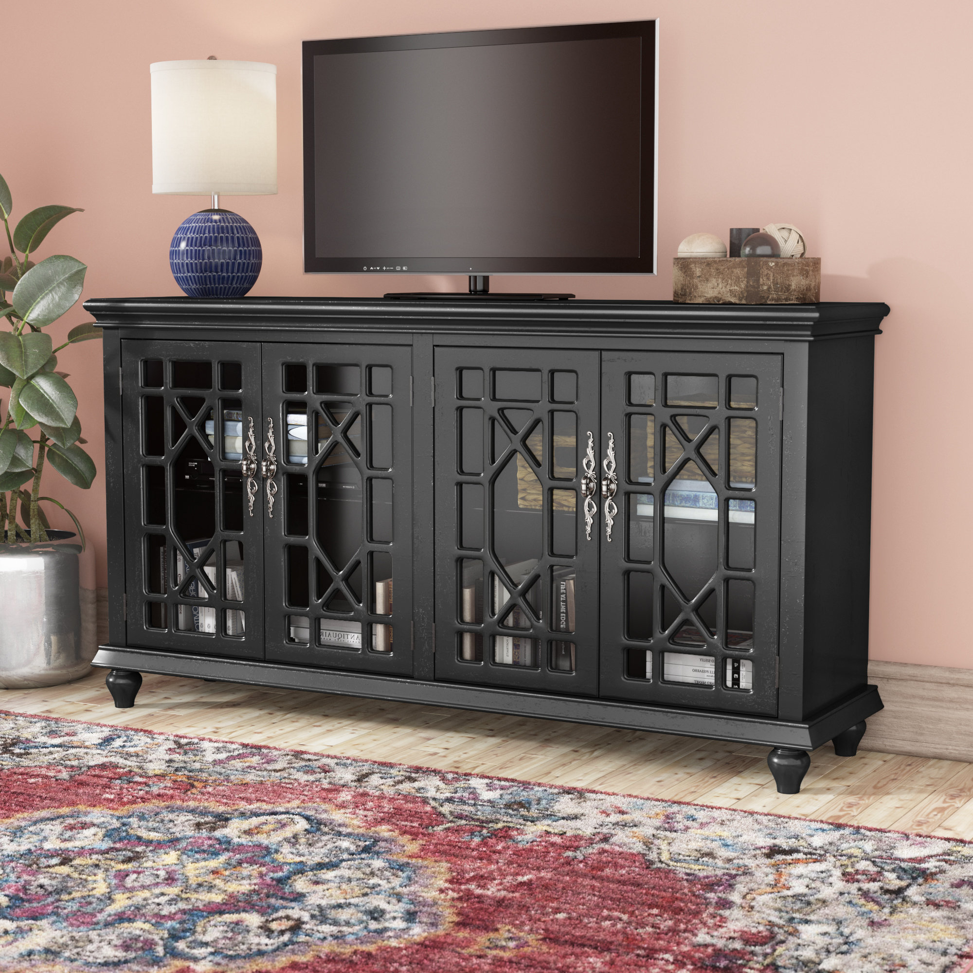Tall Tv Stands You'll Love | Wayfair Within Edwin Black 64 Inch Tv Stands (View 20 of 20)