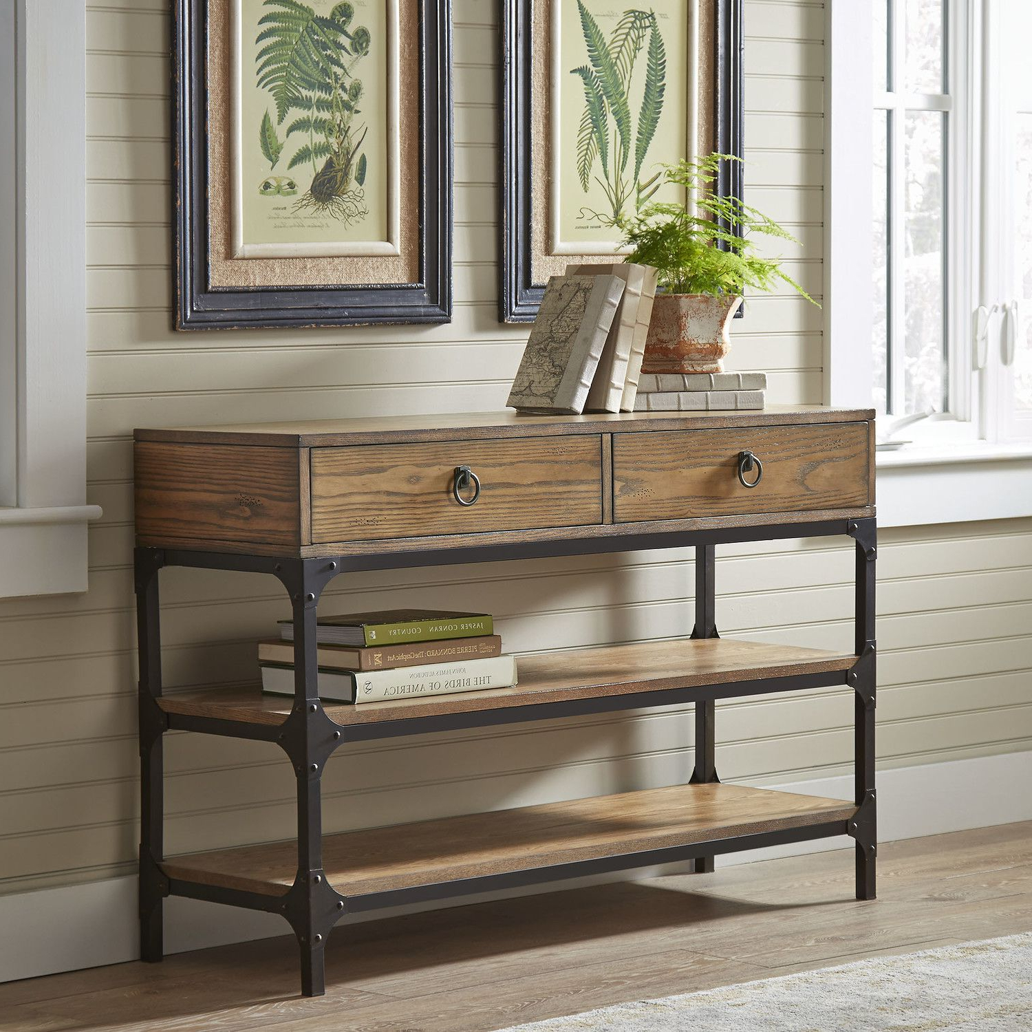 Tanner Console Table | Made With Ash Veneers And A Rustic Metal Throughout Mix Patina Metal Frame Console Tables (View 17 of 20)
