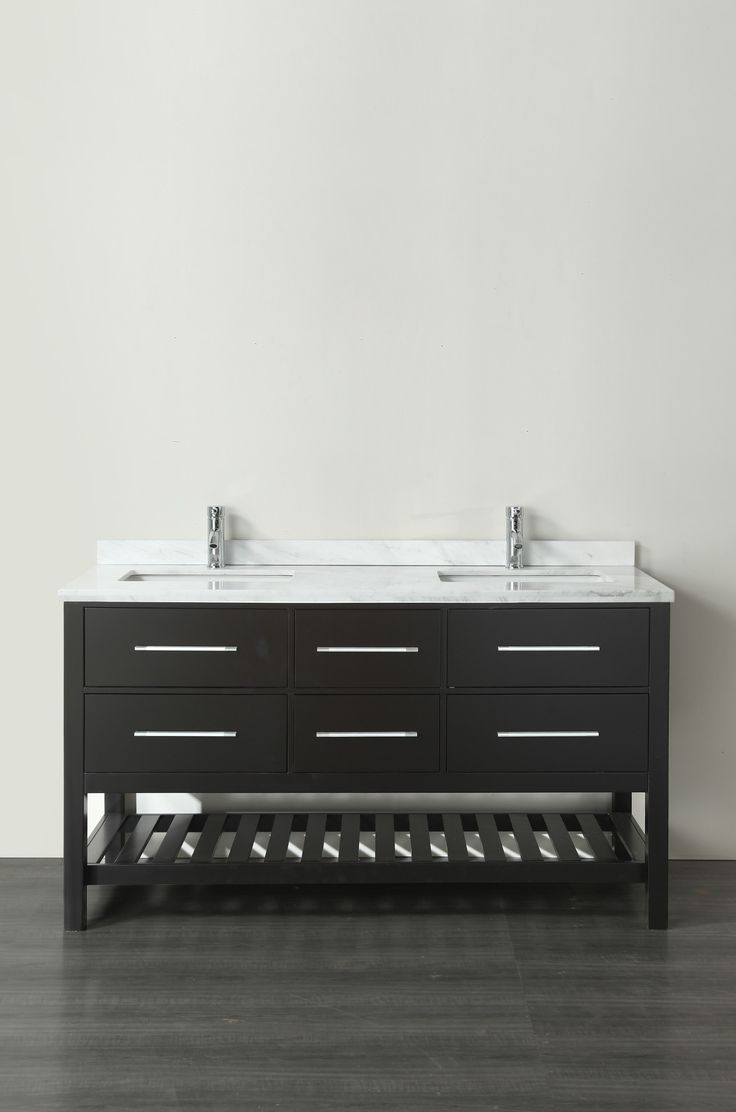"""The 8 Best Alya Bath Fw 8017 60 G Nt 60"""" Grey Double Contemporary Throughout Parsons Grey Solid Surface Top & Stainless Steel Base 48x16 Console Tables (View 14 of 20)"""