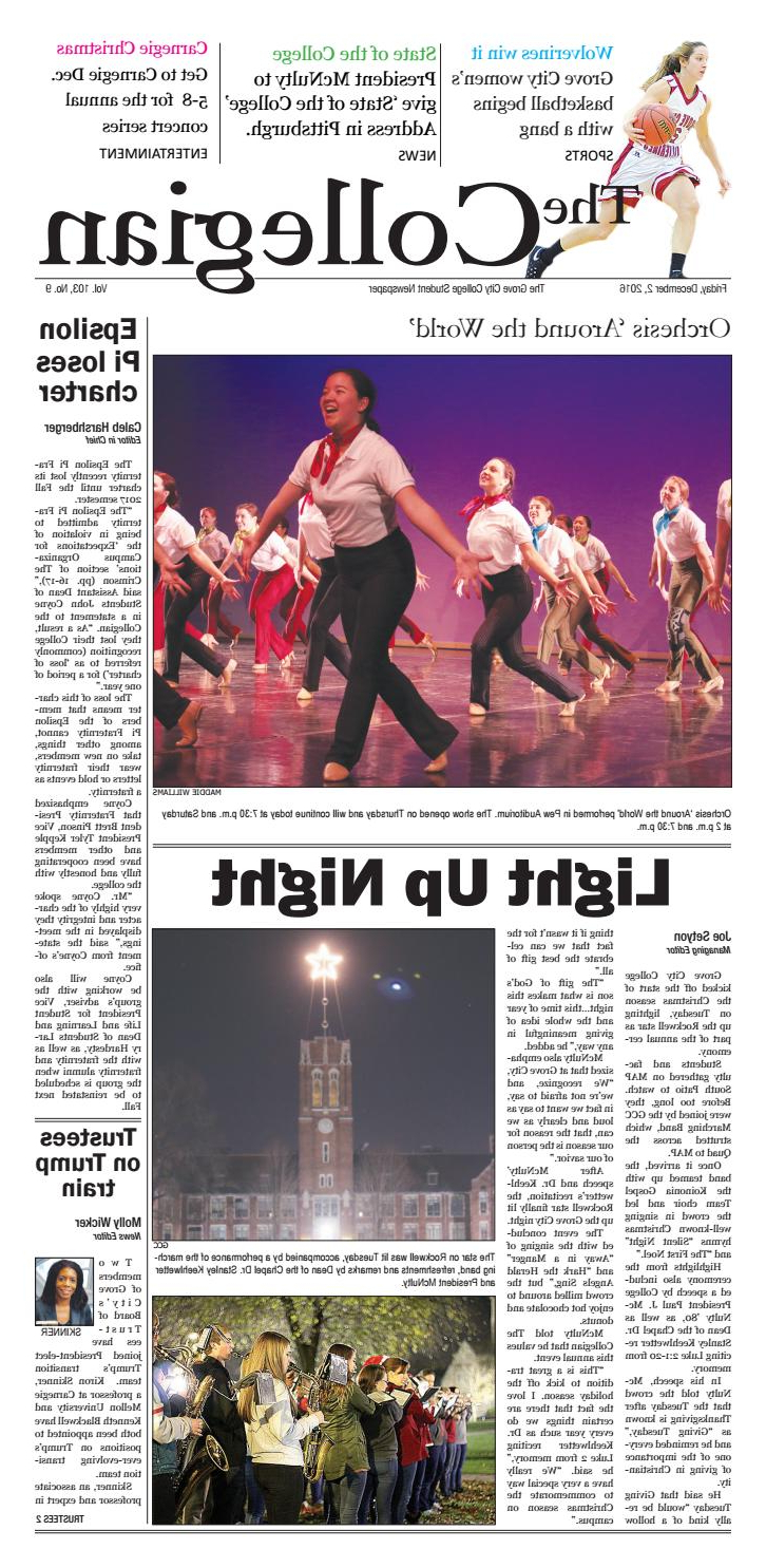 The Collegian – December 2, 2016grove City College – Issuu Intended For Maddy 70 Inch Tv Stands (View 14 of 20)