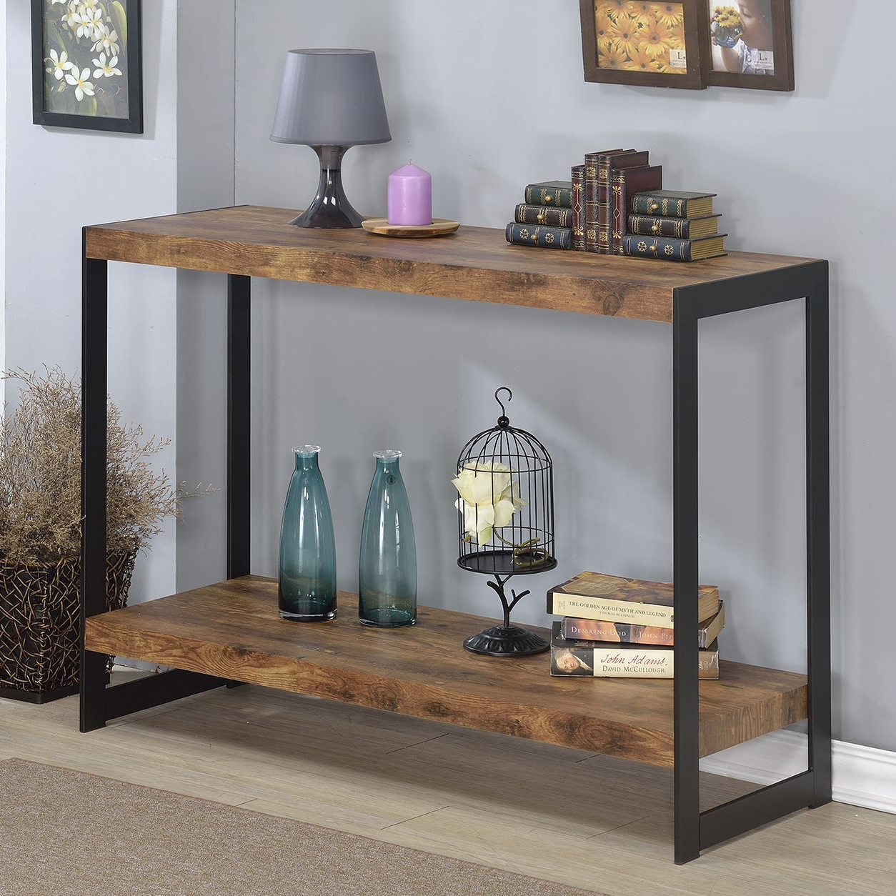 The Industrial Console Table Features A Rustic Wood Finish Laminite With Yukon Grey Console Tables (View 4 of 20)