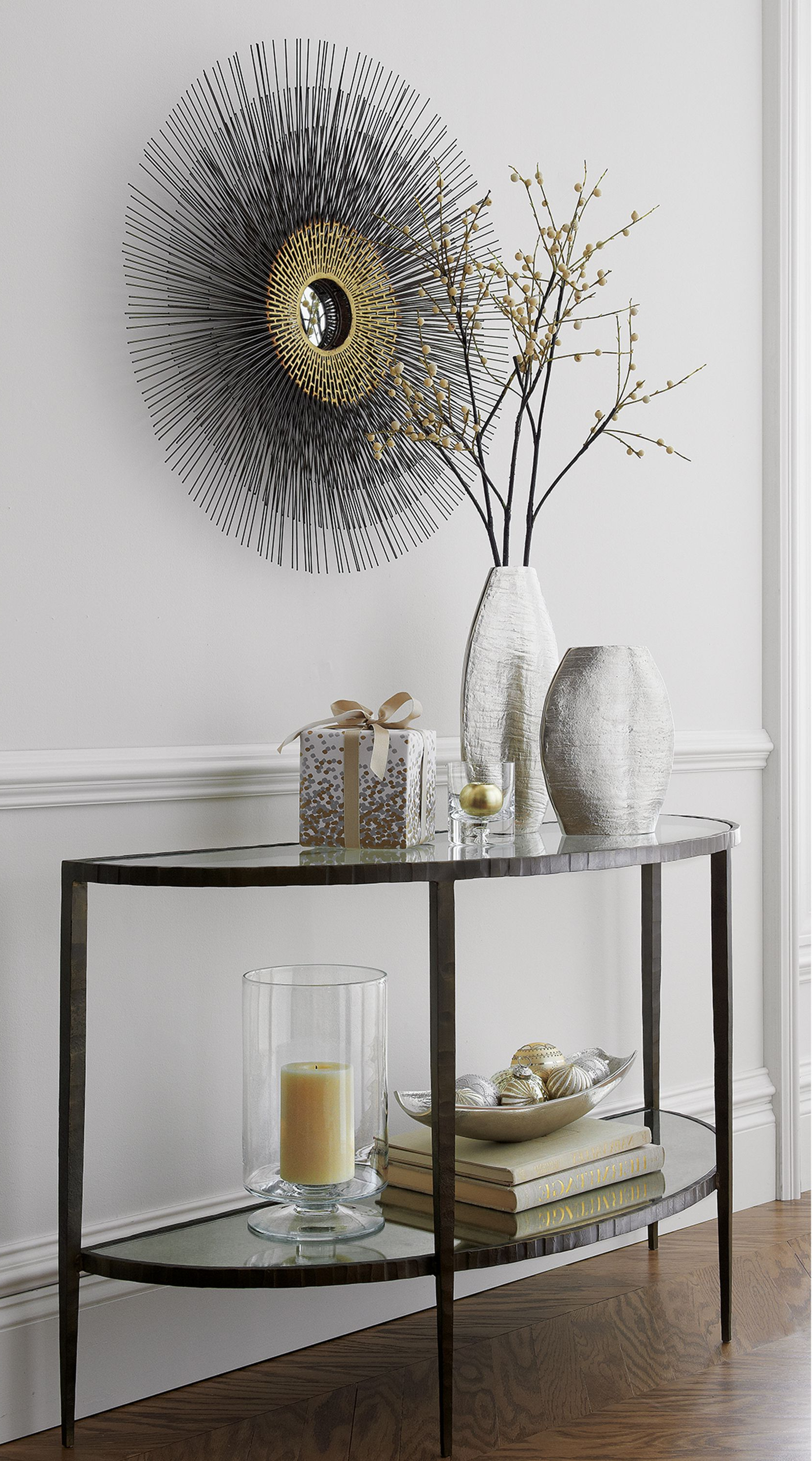 The Refined Elegance Of Art Deco Lightens The Room With An Heirloom Throughout Clairemont Demilune Console Tables (View 18 of 20)