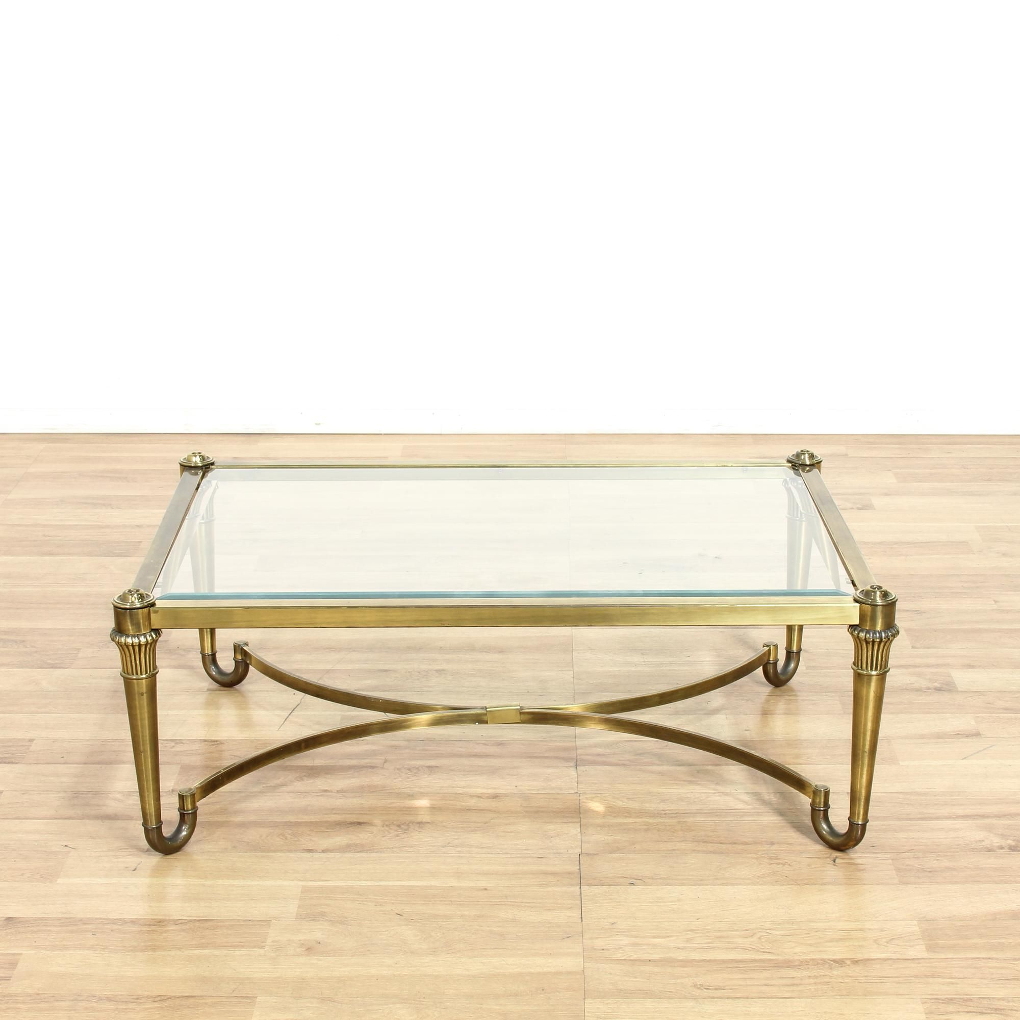 This Hollywood Regency Coffee Table Is Featured In A Durable Metal With Regard To Elke Glass Console Tables With Brass Base (View 8 of 20)