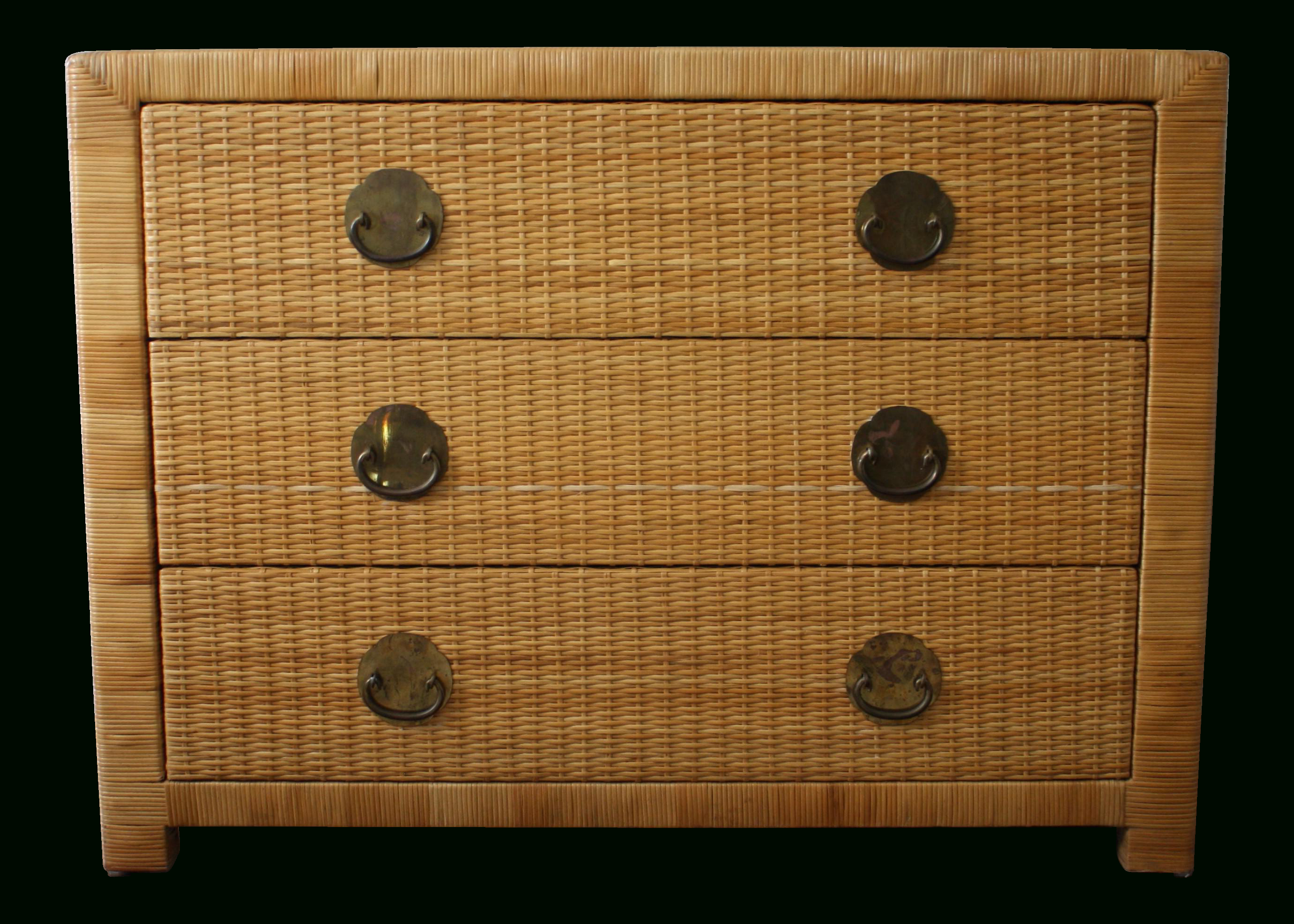 This Vintage Natural Wicker And Rattan Chest Of Drawers Comes With 3 Pertaining To Natural Cane Media Console Tables (View 20 of 20)