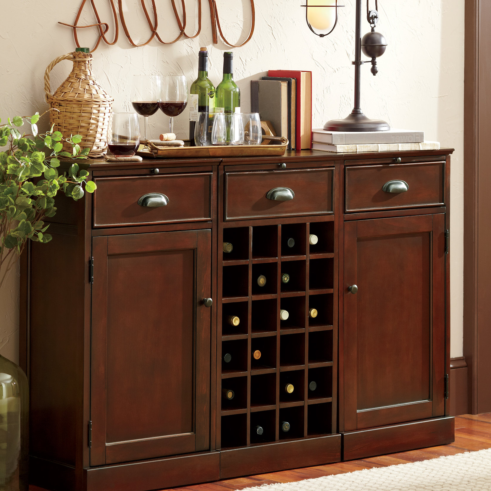 Three Posts Goreville Bar Cabinet With Wine Storage | Birch Lane Inside Marvin Rustic Natural 60 Inch Tv Stands (View 14 of 20)
