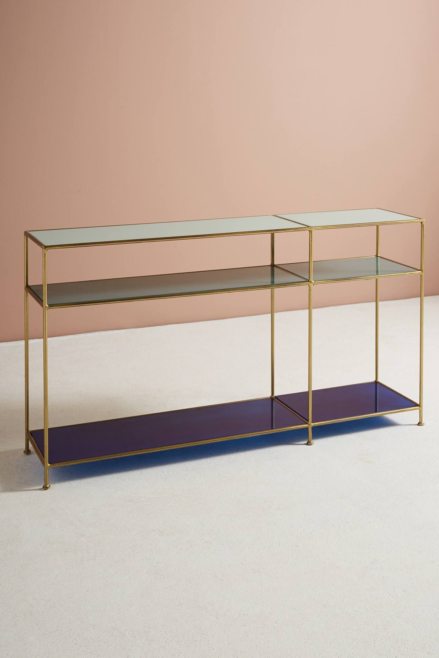 Tinted Glass Console Table | My Blue Heaven | Pinterest | Console Within Elke Glass Console Tables With Brass Base (View 19 of 20)