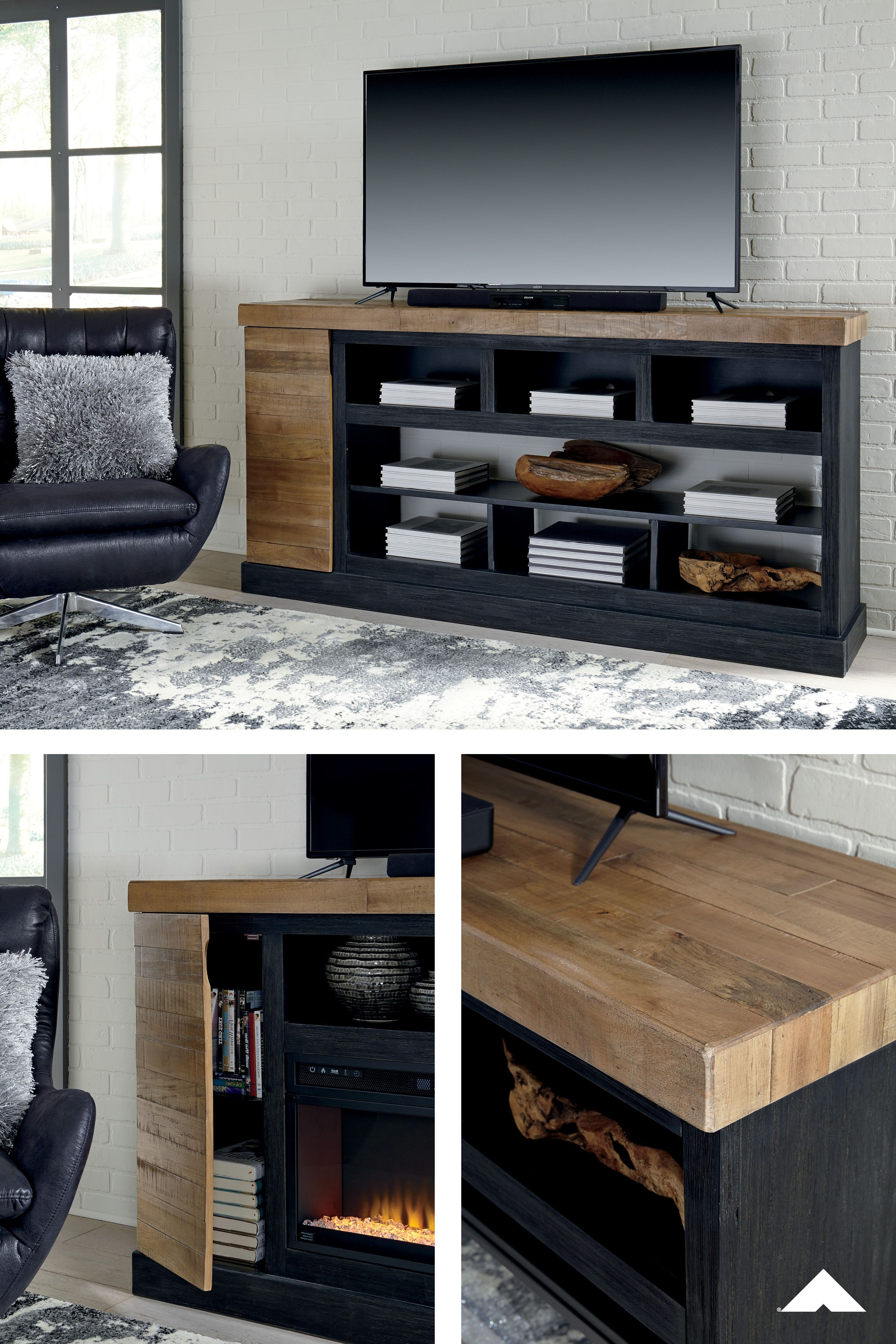 Tonnari Two Tone Brown Xl Tv Stand W/fireplace Optionashley In Sinclair Grey 64 Inch Tv Stands (View 19 of 20)