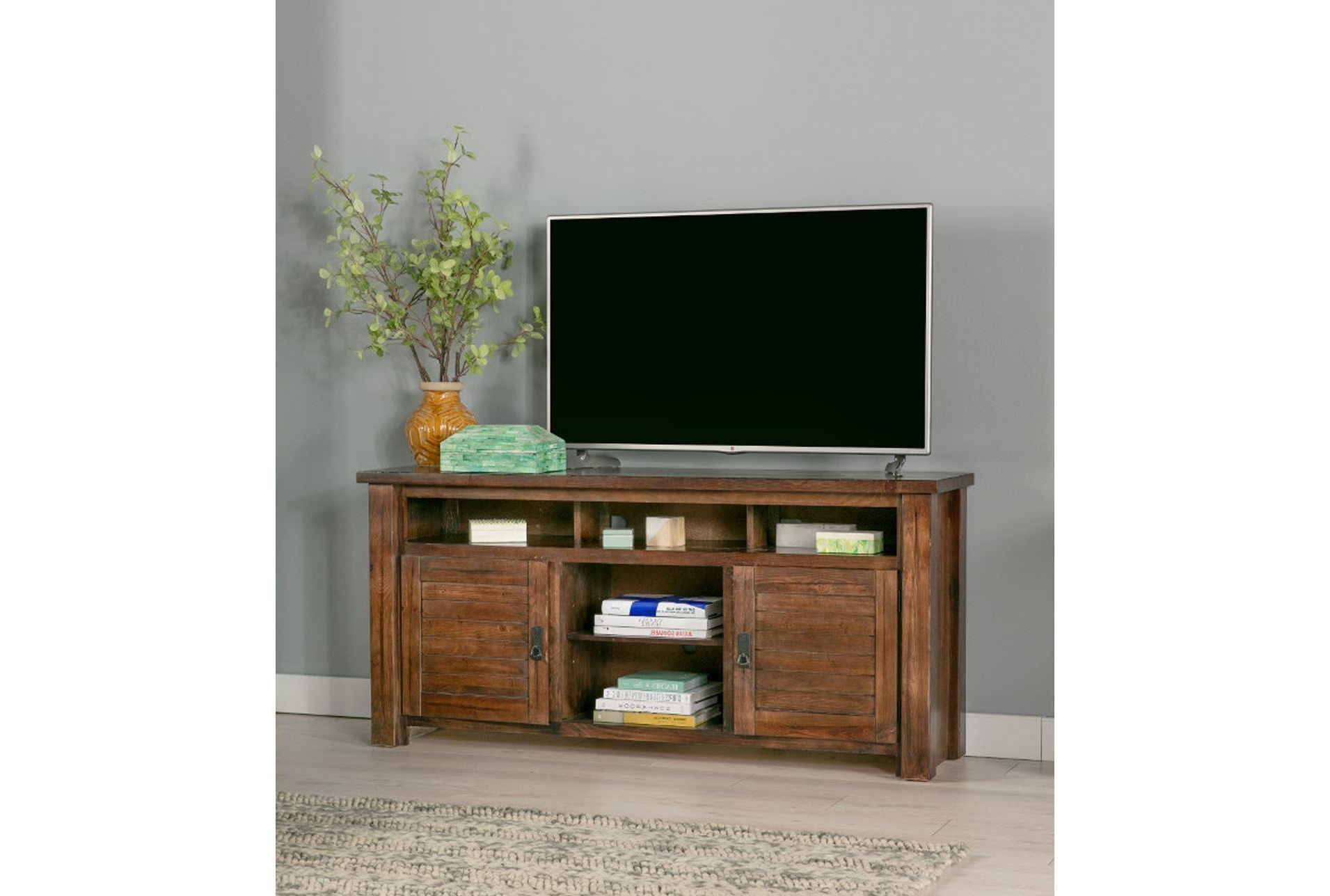 Trendy Canyon 74 Inch Tv Stand Living Spaces Tv Stand With Regard To Sinclair Blue 64 Inch Tv Stands (View 18 of 20)