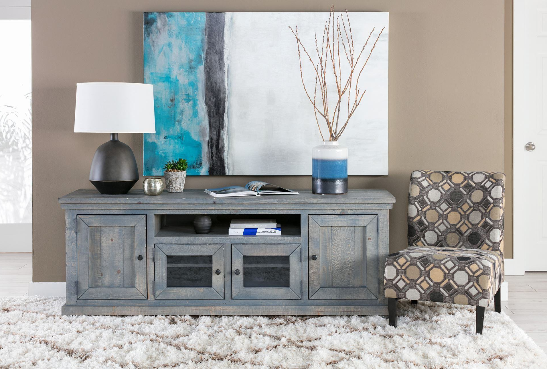 Trendy Canyon 74 Inch Tv Stand Living Spaces Tv Stand Within Sinclair Blue 64 Inch Tv Stands (View 6 of 20)