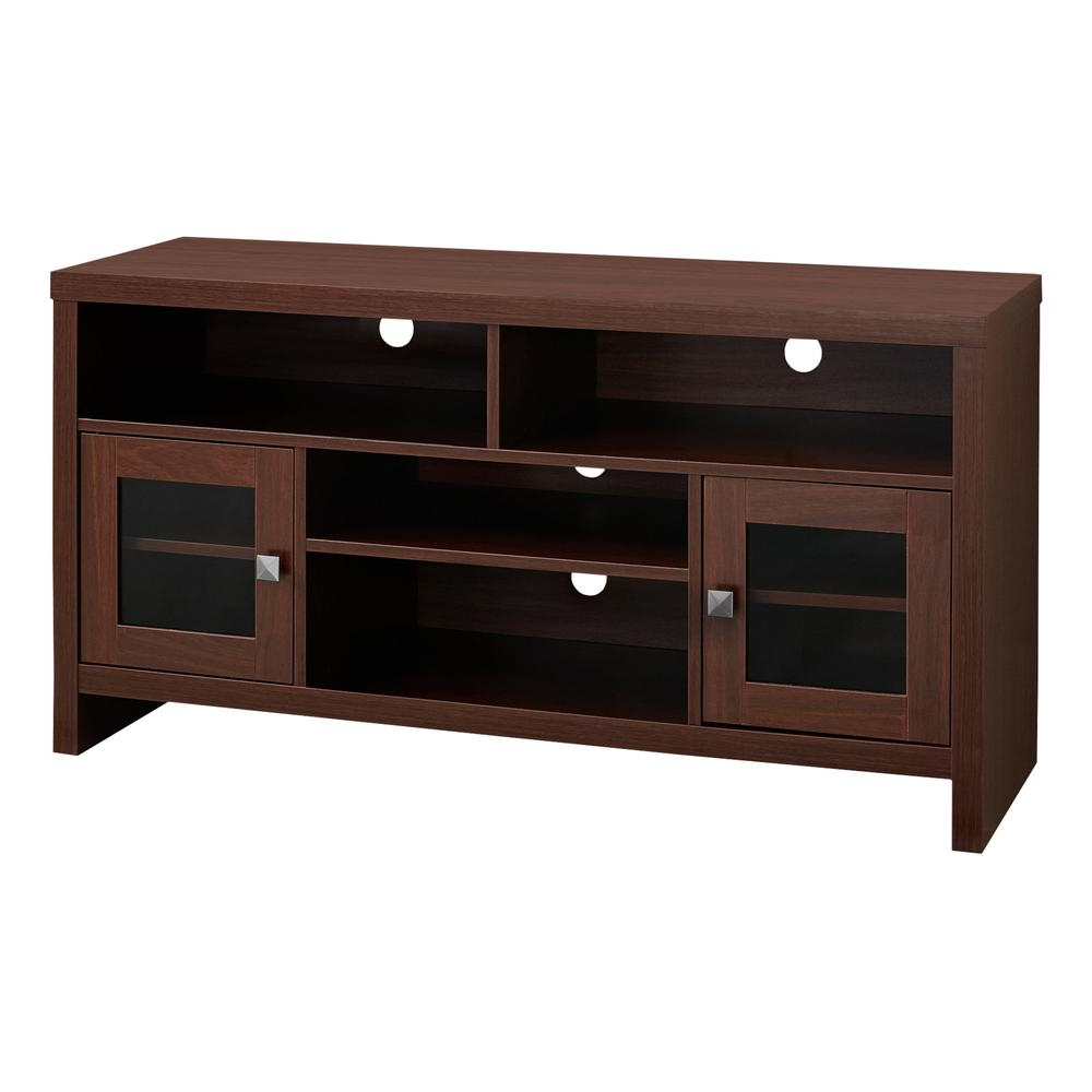 """Tv Stand – 48""""l / Warm Cherry With Glass Doors With Wyatt 68 Inch Tv Stands (View 5 of 20)"""