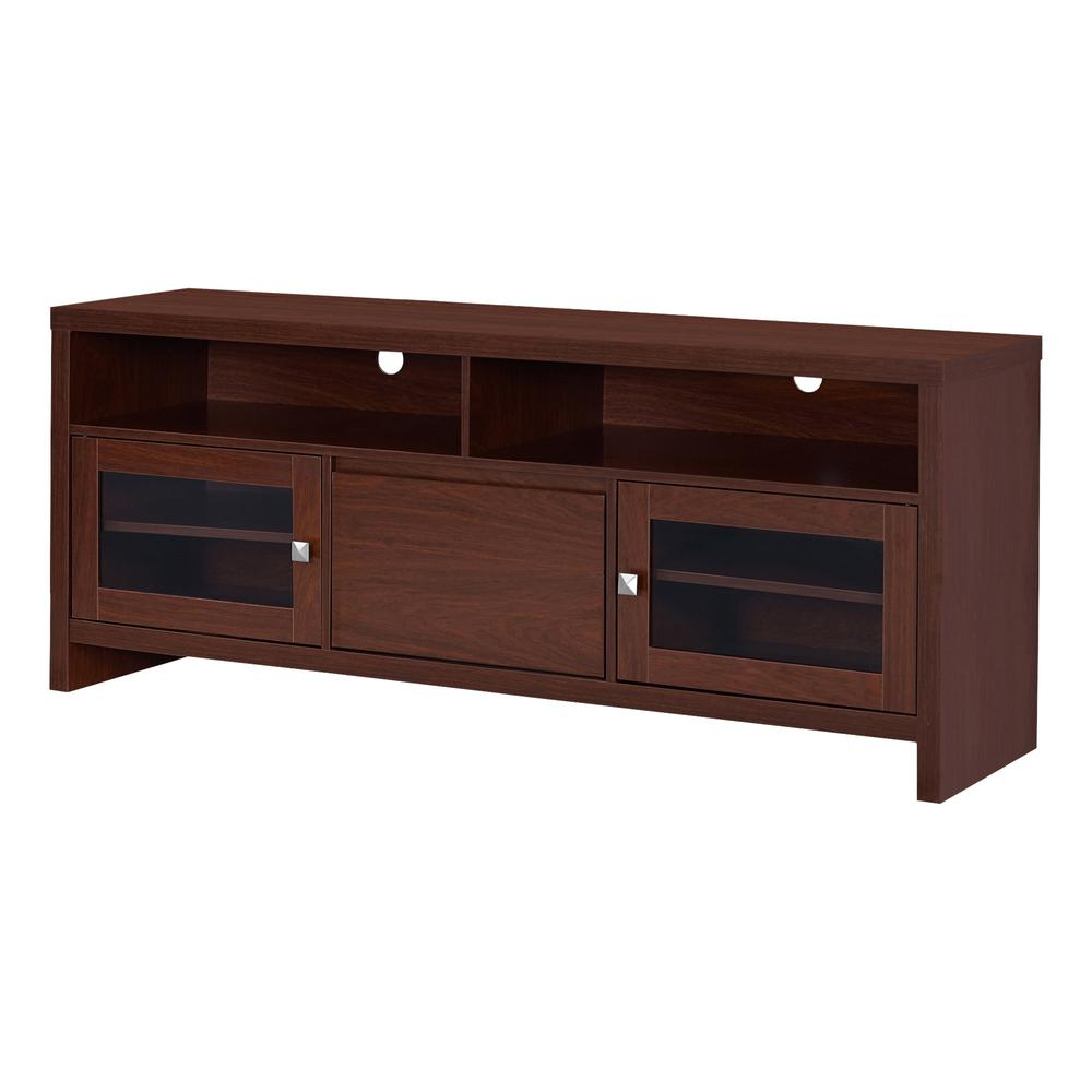"Tv Stand – 60""l / Warm Cherry With Glass Doors Inside Rowan 74 Inch Tv Stands (Gallery 4 of 20)"