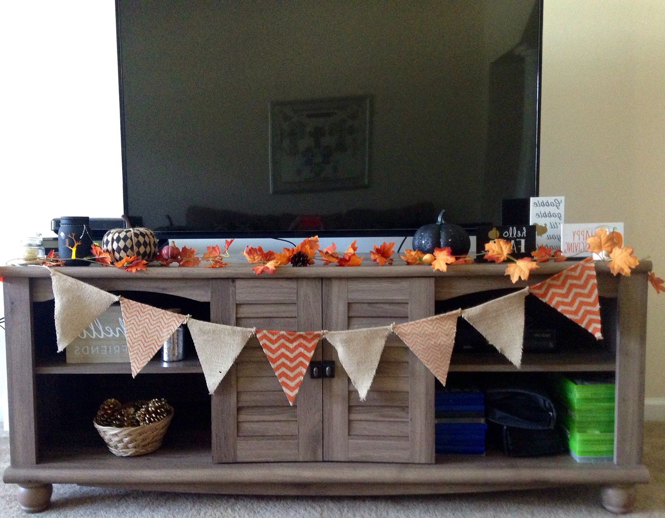 Tv Stand Fall Decor | Autumn | Fall Decor, Fall Home Decor, Decor Intended For Bale 82 Inch Tv Stands (View 9 of 20)