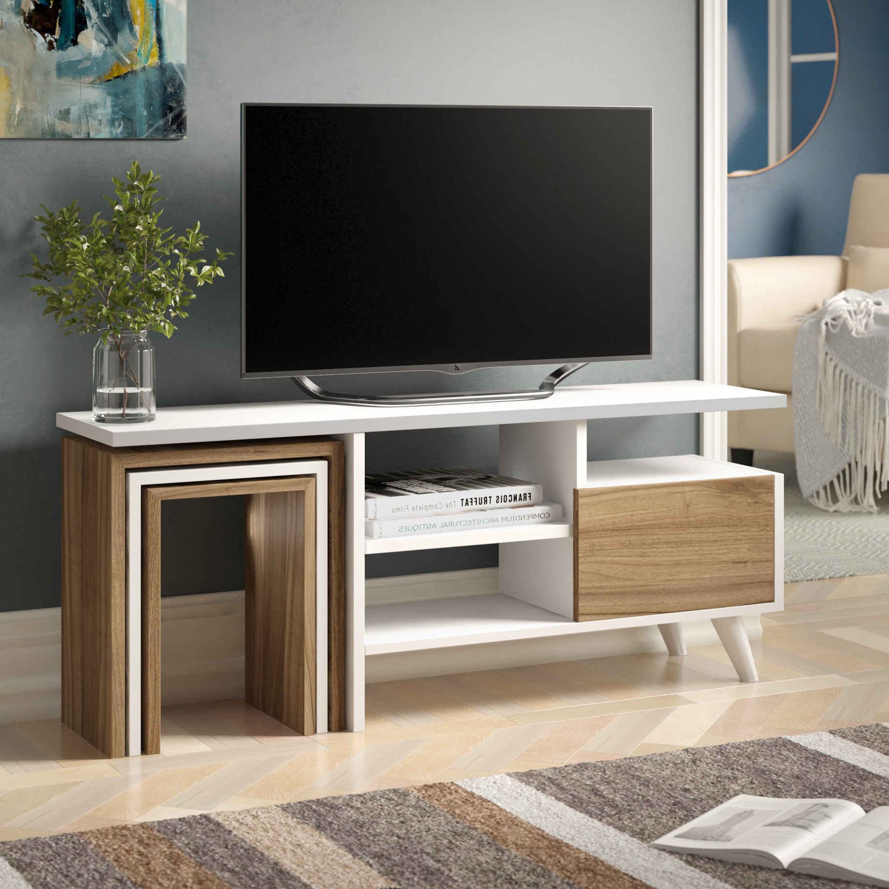 Tv Stand With Side Tables | Wayfair.co (View 2 of 20)