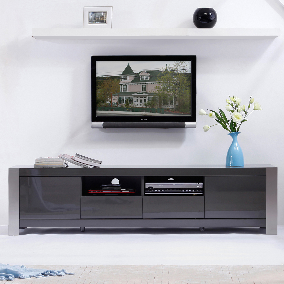 Tv Television Stands 71 & Wider In Noah Rustic White 66 Inch Tv Stands (Gallery 8 of 20)