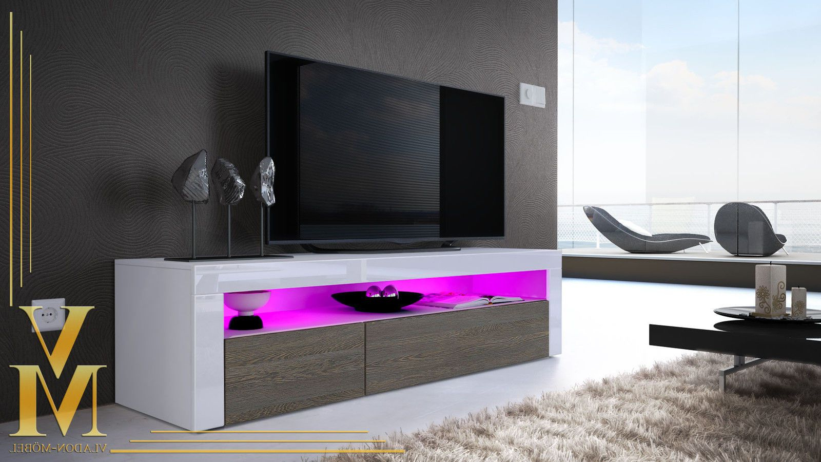 Tv Unit Stand Sideboard Led Valencia In White – High Gloss & Natural With Valencia 60 Inch Tv Stands (View 16 of 20)