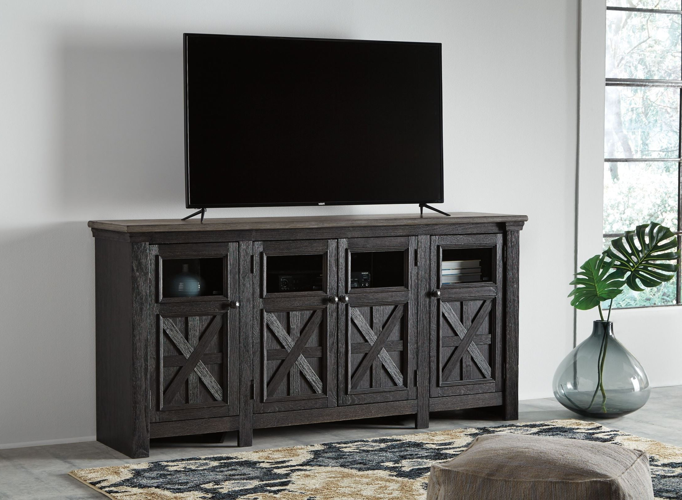 Tyler Creek Black And Gray Extra Large Tv Stand From Ashley Throughout Vista 68 Inch Tv Stands (View 17 of 20)