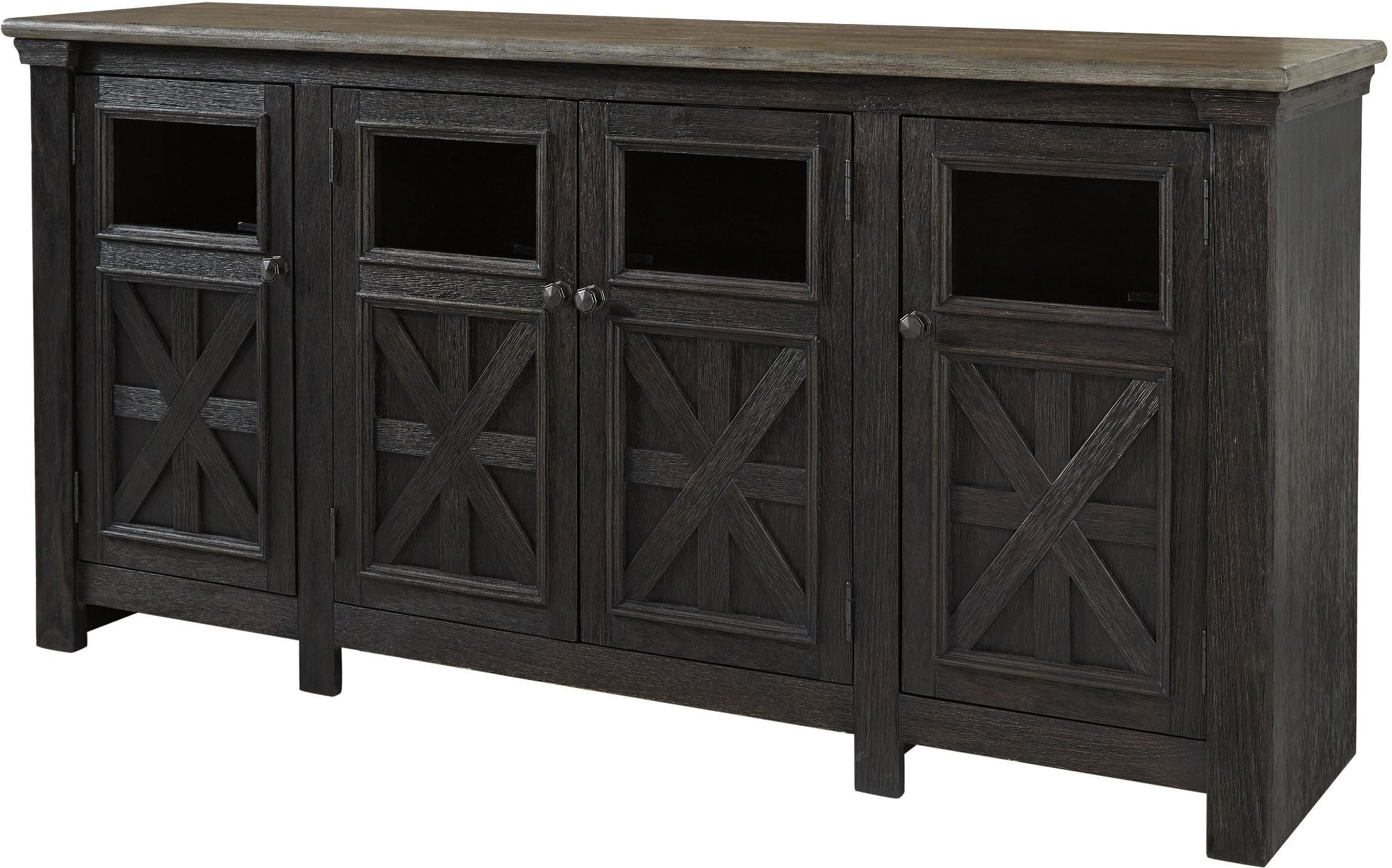 Tyler Creek Black And Gray Extra Large Tv Stand From Ashley With Regard To Vista 68 Inch Tv Stands (View 18 of 20)