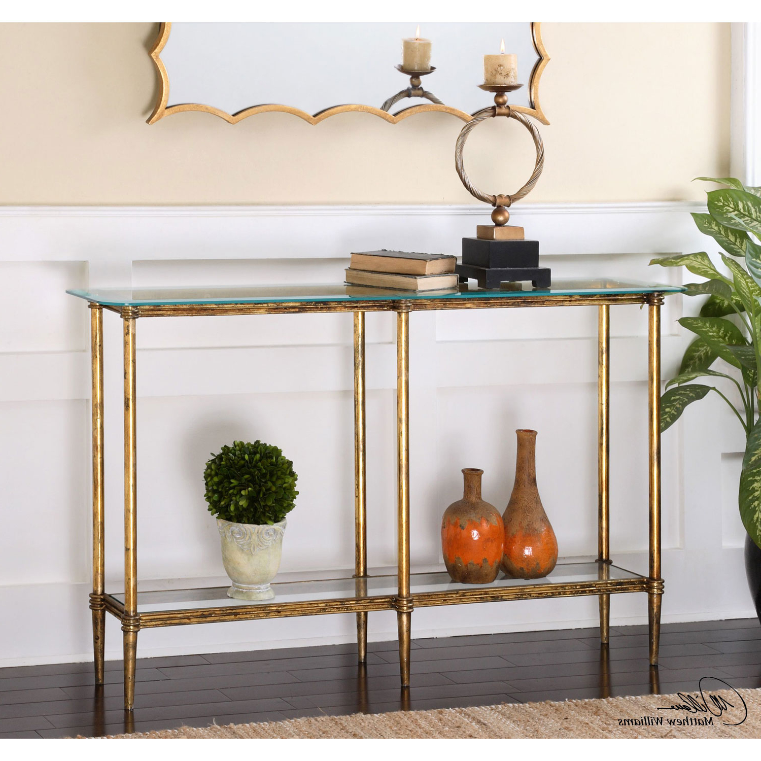 Uttermost Elenio Bright Gold Console Table 24421 | Bellacor Pertaining To Jacque Console Tables (Gallery 10 of 20)