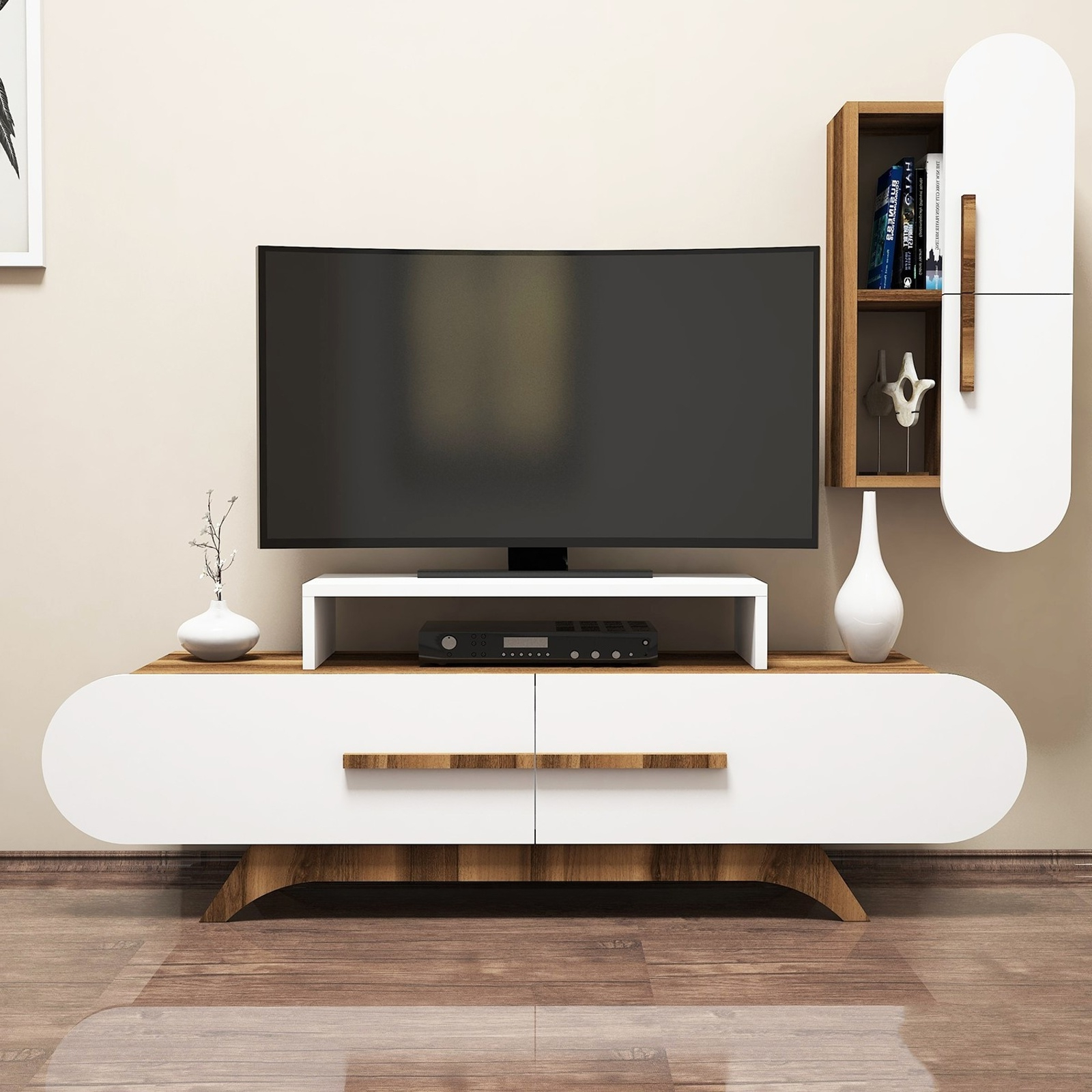 Variant Rose Duvar Raflı Tv Sehpası Ceviz Beyaz | Yukko Intended For Ducar 84 Inch Tv Stands (View 15 of 20)