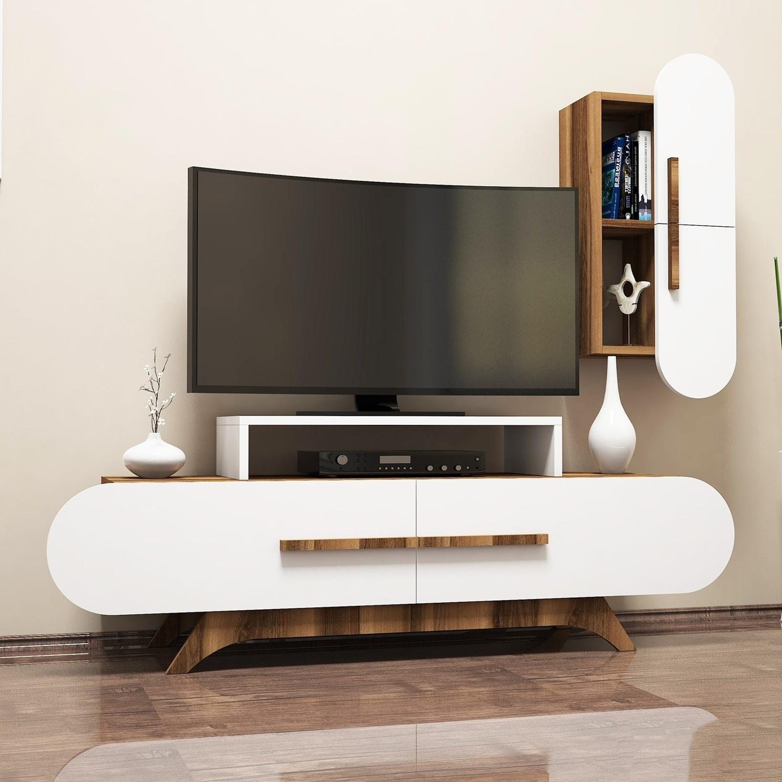 Variant Rose Duvar Raflı Tv Sehpası Ceviz Beyaz | Yukko Regarding Ducar 74 Inch Tv Stands (View 20 of 20)